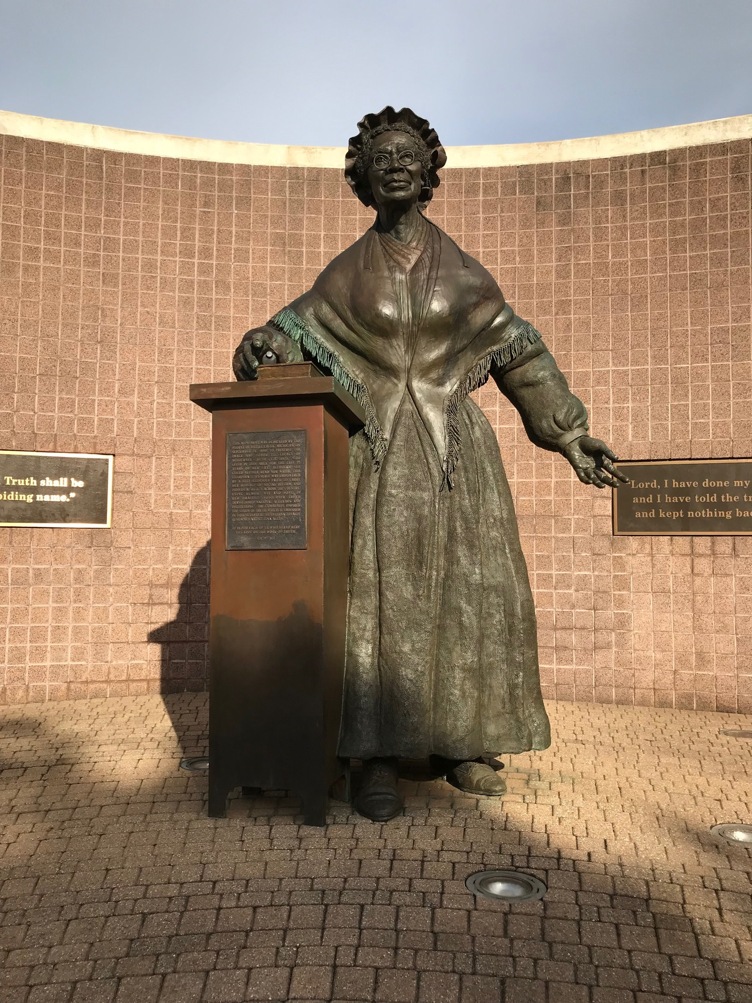 The Sojourner Truth  Monument. This site has been a place   for more than just reflection on the past and her legacy and courage. Public demonstrations have been held here   for showing support to people of color when standing in solidarity to hold   vigil for peace and nonviolence. I've   been here with many others in the aftermath of violence done to individuals   in other communities as a coming together in fellowship. This place is both secular and sacred in   Battle Creek. Corner of E Michigan Ave  and N Division St