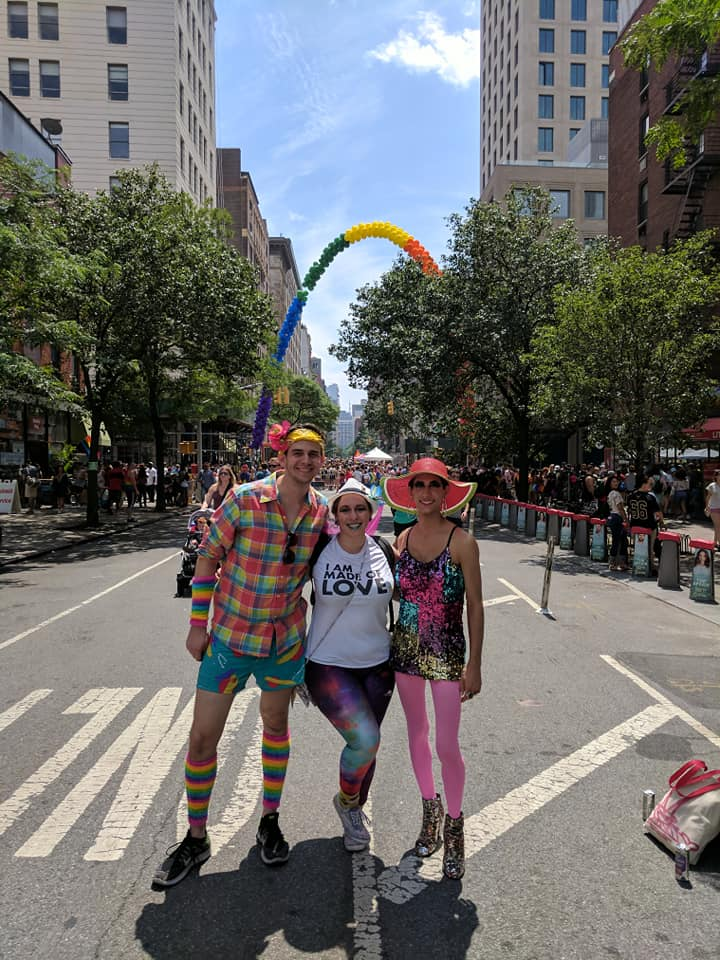 How I see my   community:    Proud of who they are, loving and inclusive, and not tolerant of prejudice or hate. Fun and creative and always make room for the arts, and excited to nerd out over things with each other. This is a pic of me at Pride in NYC with my brother and his roommate. It was incredibly sweet to be surrounded by so much positivity. And rainbow glitter. Rainbow glitter is just cheerful.