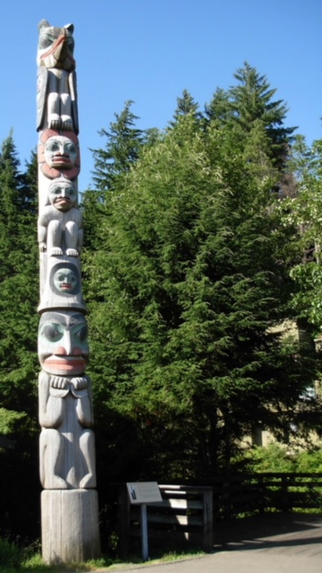 This is a totem pole that tells one of my favorite Tlingit stories of The Raven Stealing the Sun. Being in Ketchikan amongst native art makes me feel grounded and at home.