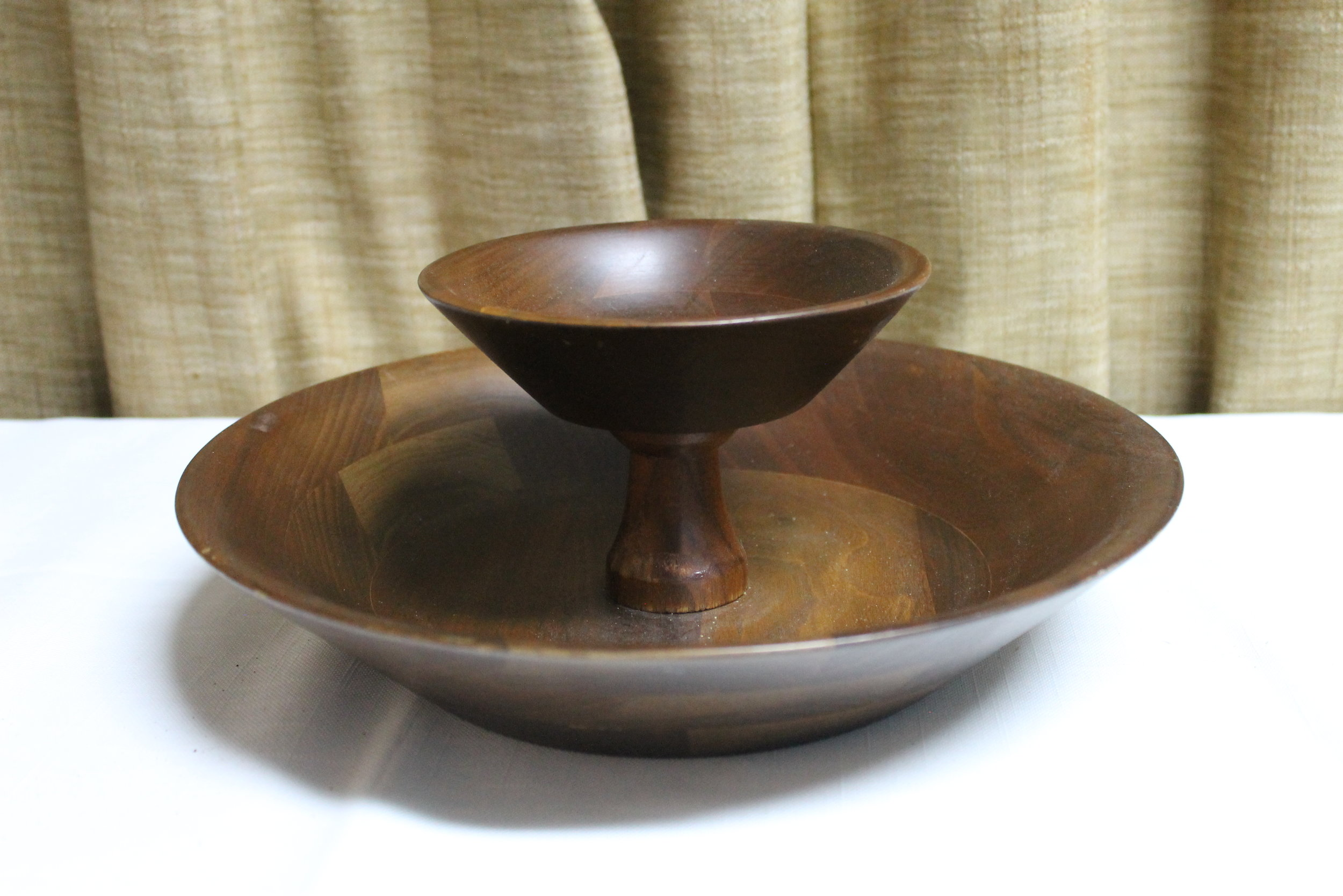 Two Tier Wooden Bowl