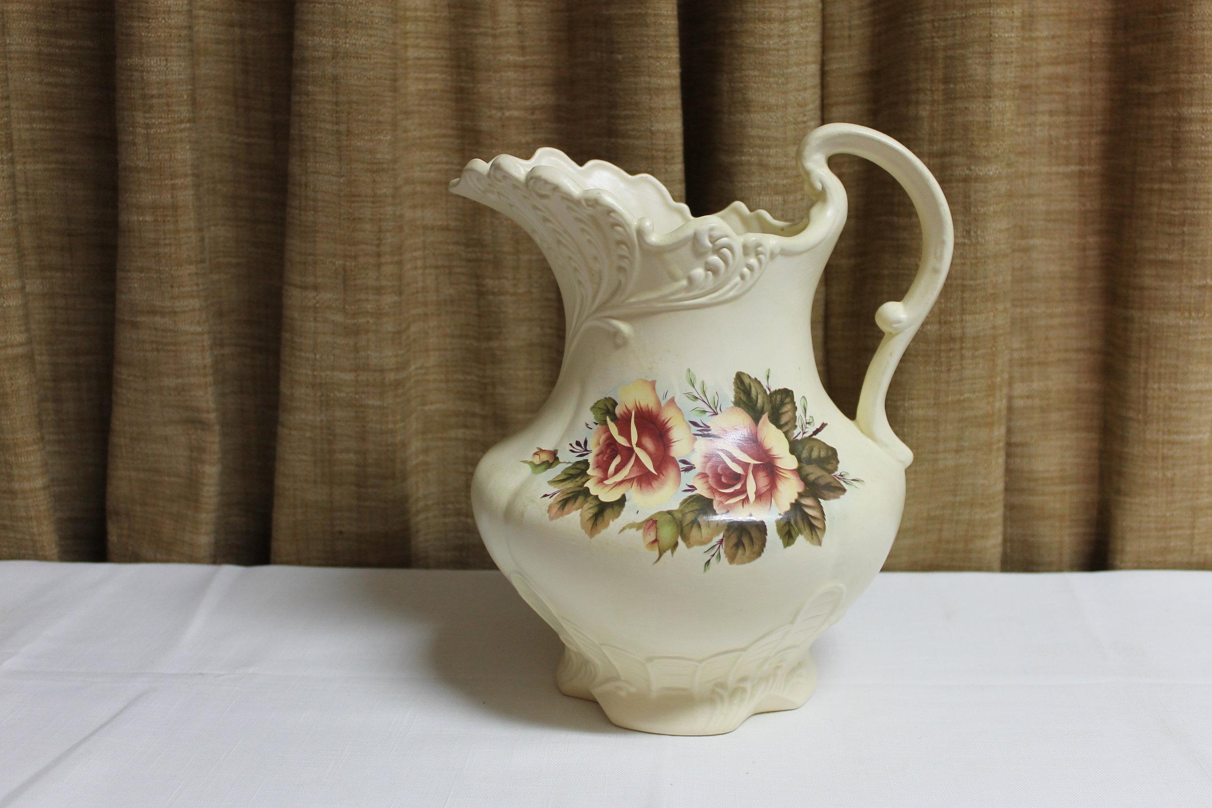 Vintage Floral Pottery Water Basin