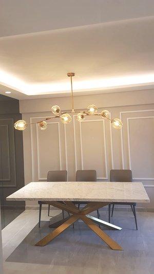 Spark Gold Italian Marble Dining Table
