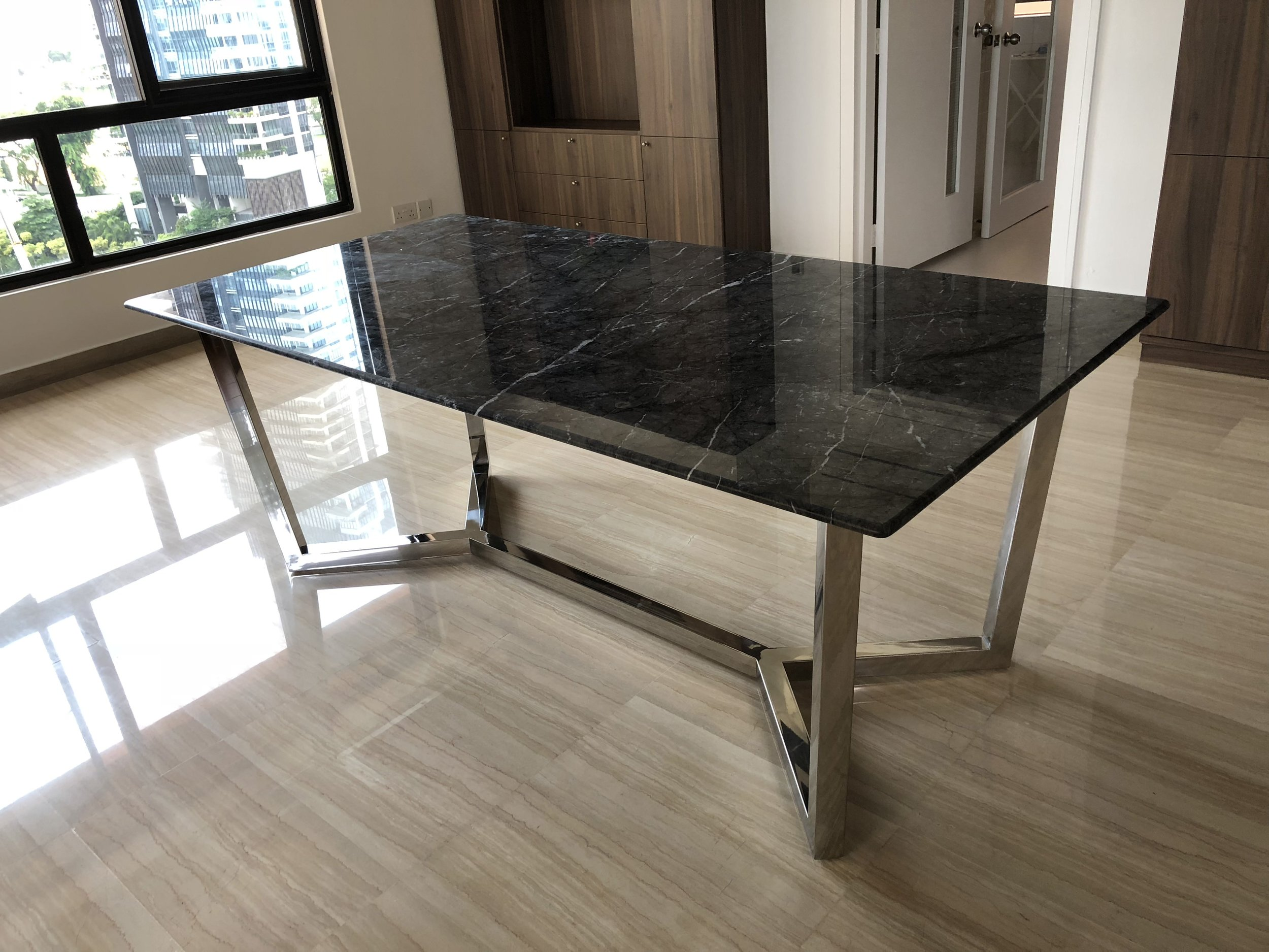 Andro Italian Marble Dining Table Custom Dining Tables Singapore Grey Hammer