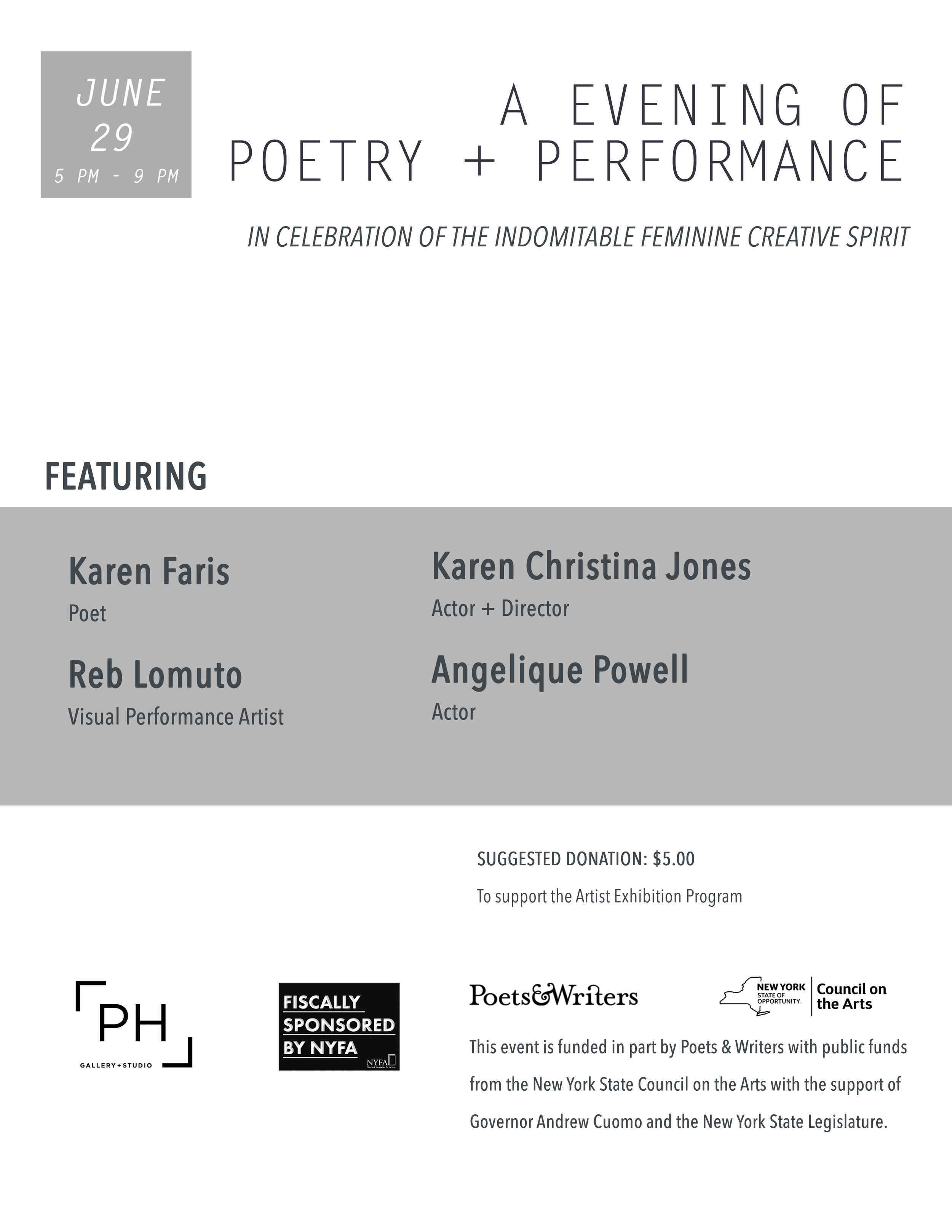 AN EVENING OF POETRY + PERFORMANCE