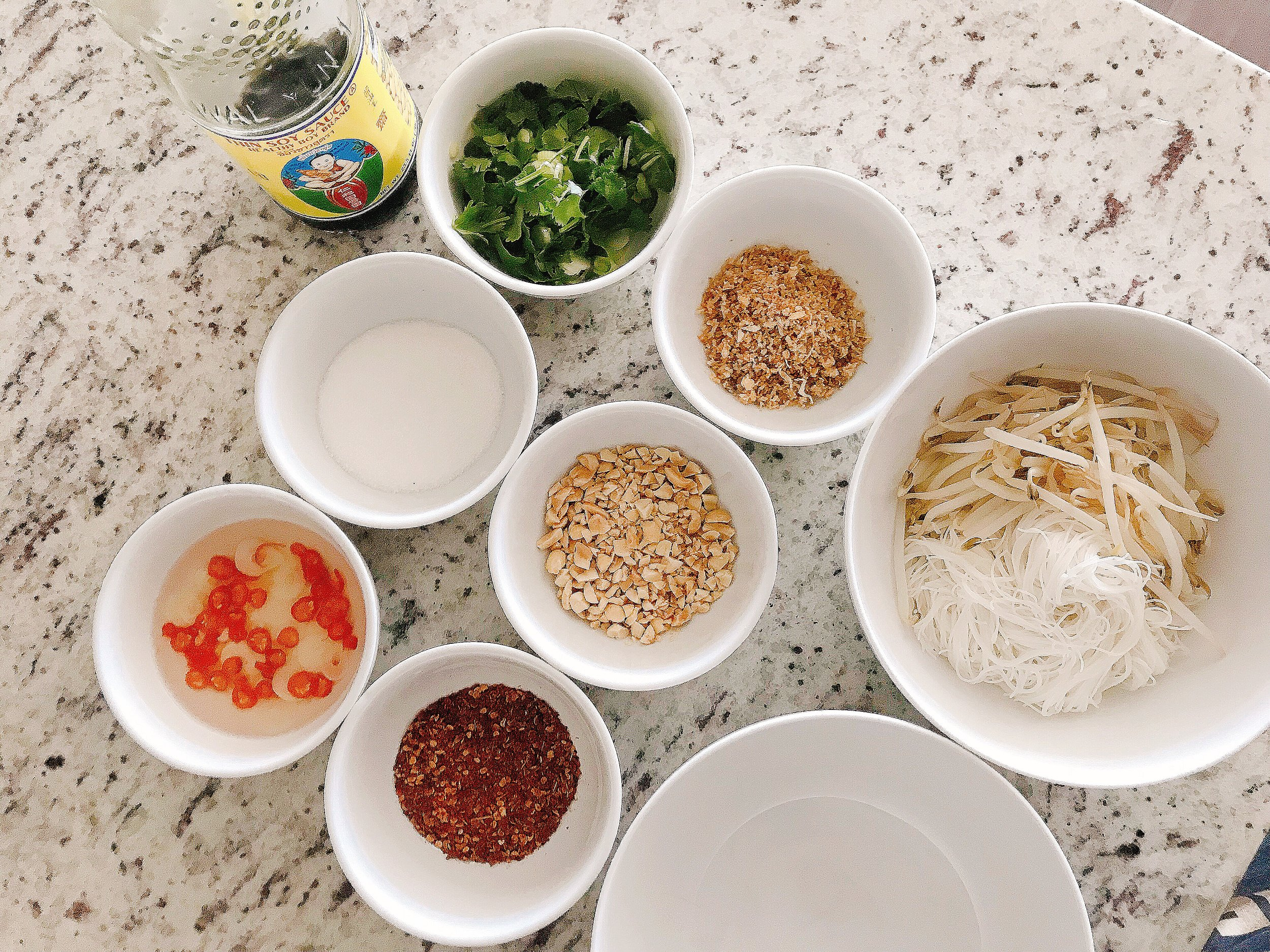 Mis en place.Top Row:soy sauce. Second Row: sliced chilis in vinegar, white sugar, chopped scallions and green onions. Third Row: dried chili flakes, chopped dry roasted salted peanuts, and fried garlic flakes.