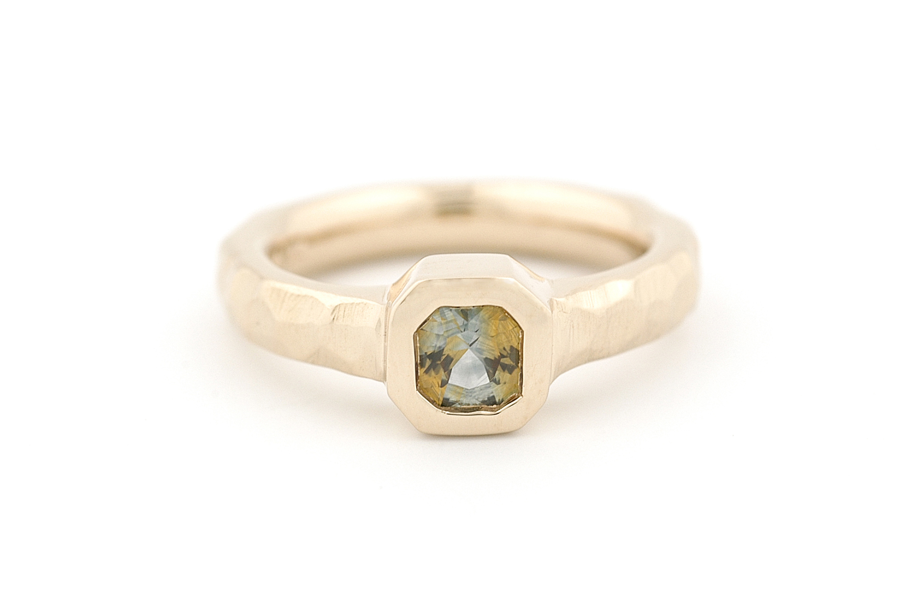 Custom Engagement Ring 14K Yellow Gold, Bi-Color Montana Sapphire