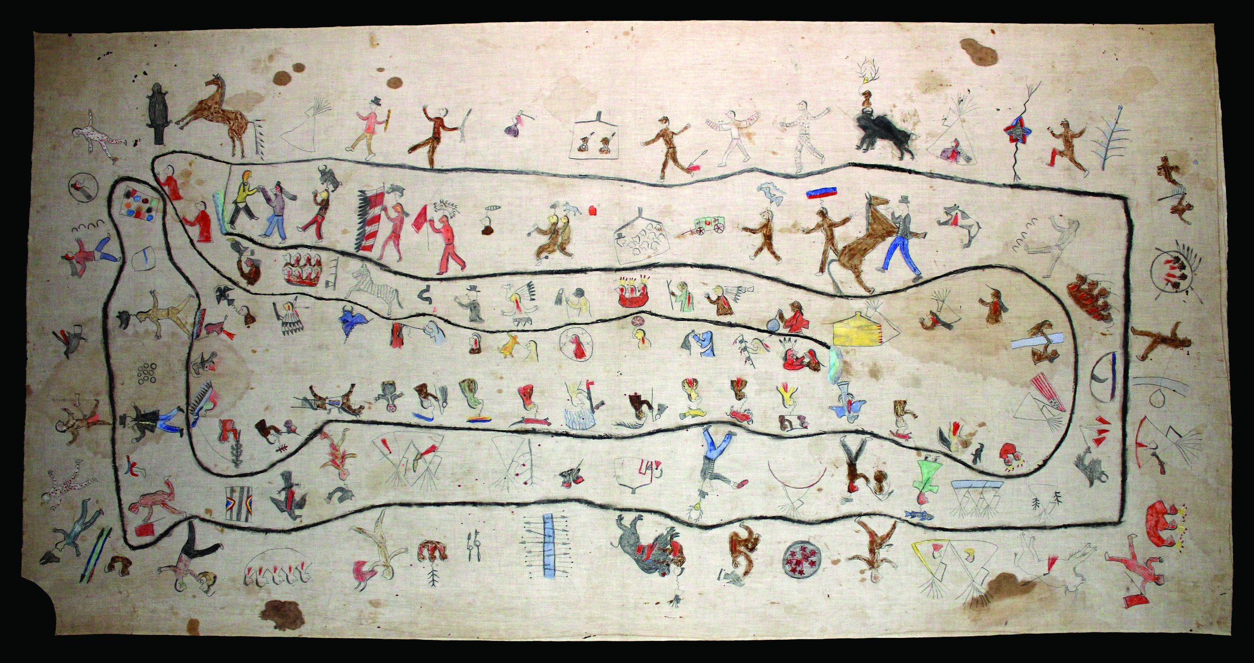 The Wajaje Winter Count, (ca. late 1800s) provides the early history of the southern Teton Lakota tribes, documenting 1758-1759 through 1885-1886.