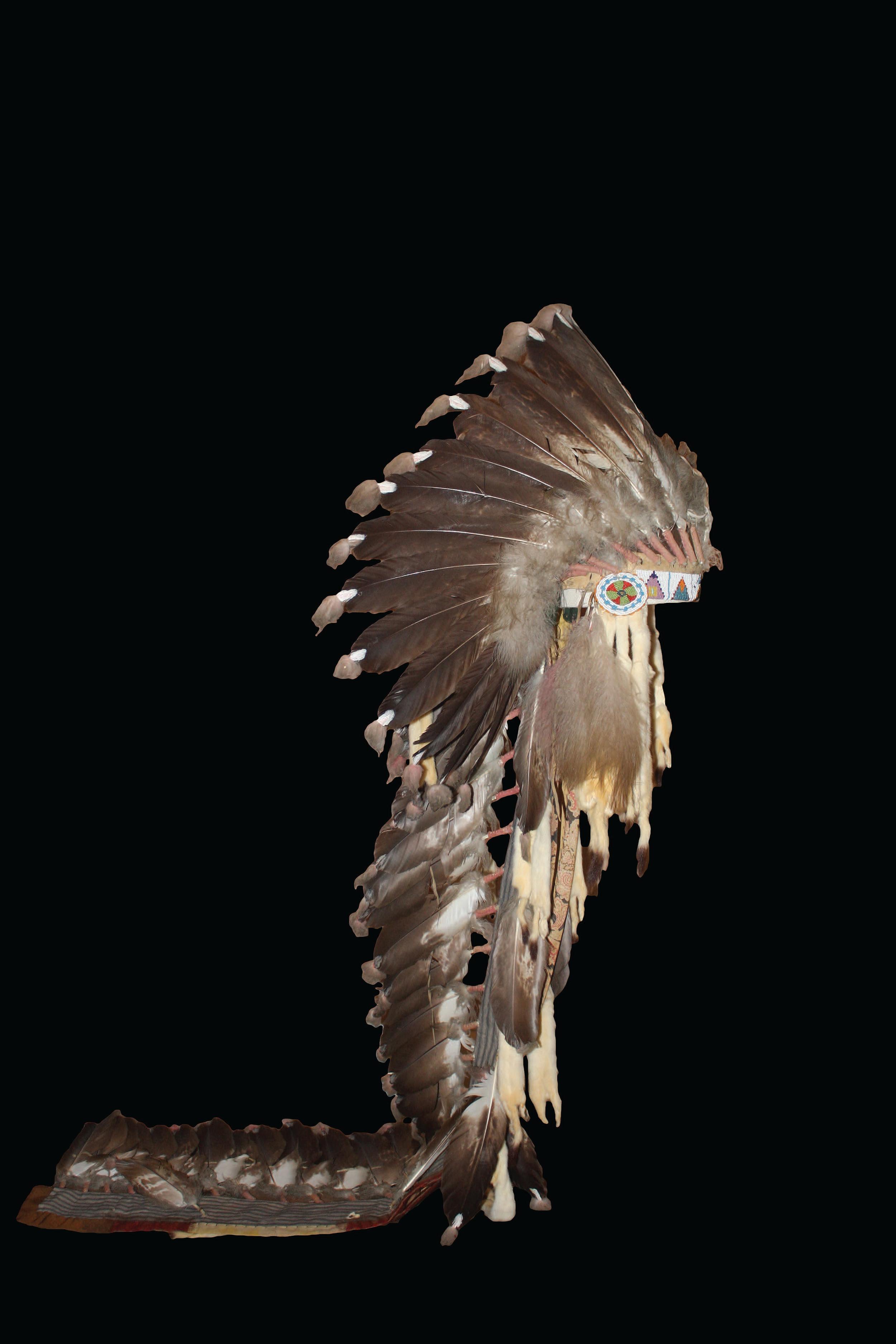 Blackfoot Headdress, ca. late 1800s. On loan from the University of Arkansas.