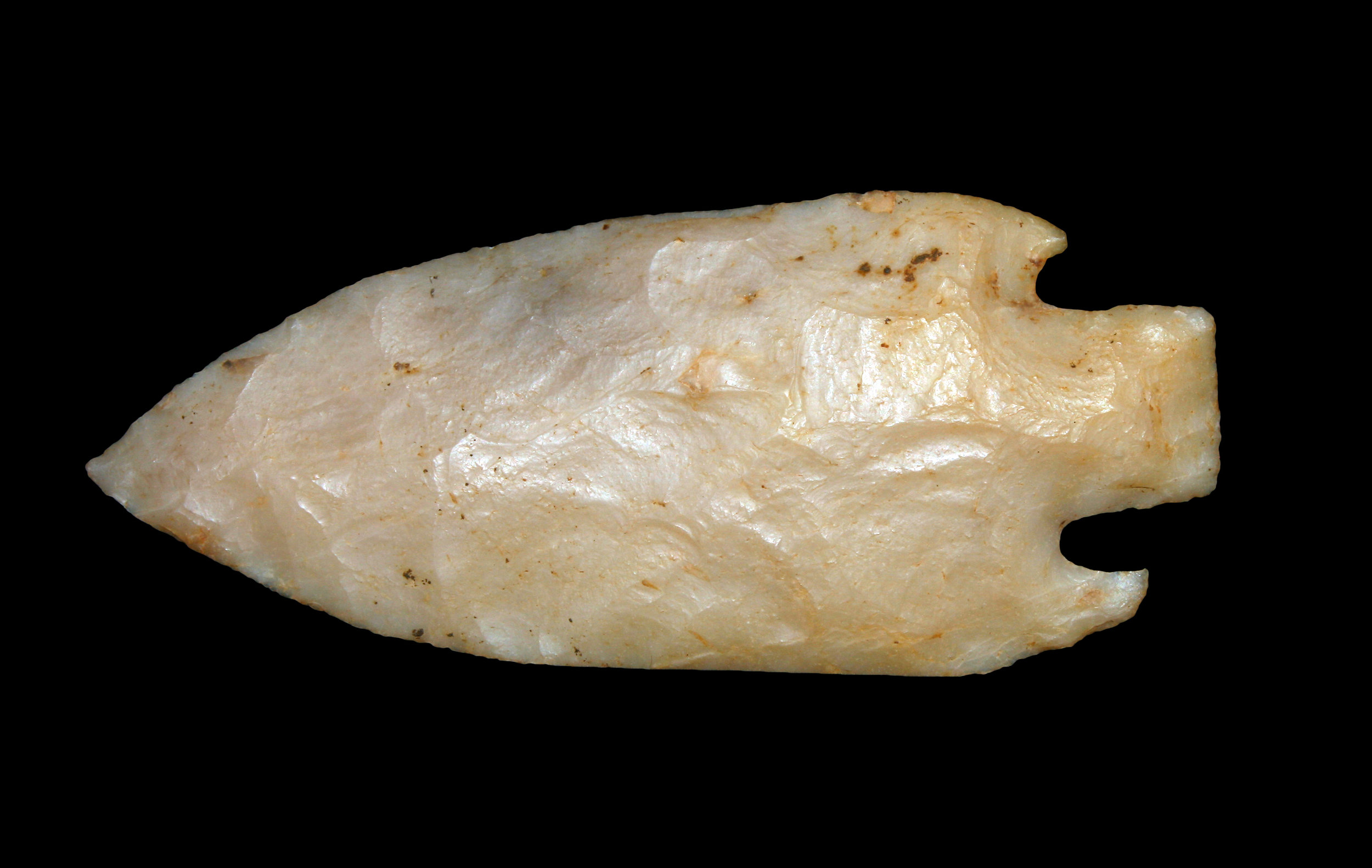 """Little River Cache, ca. 1000-3000 BC. A cache of 5 """"Little River"""" points found in McCurtain County, OK, by Gergory Perino and his wife."""