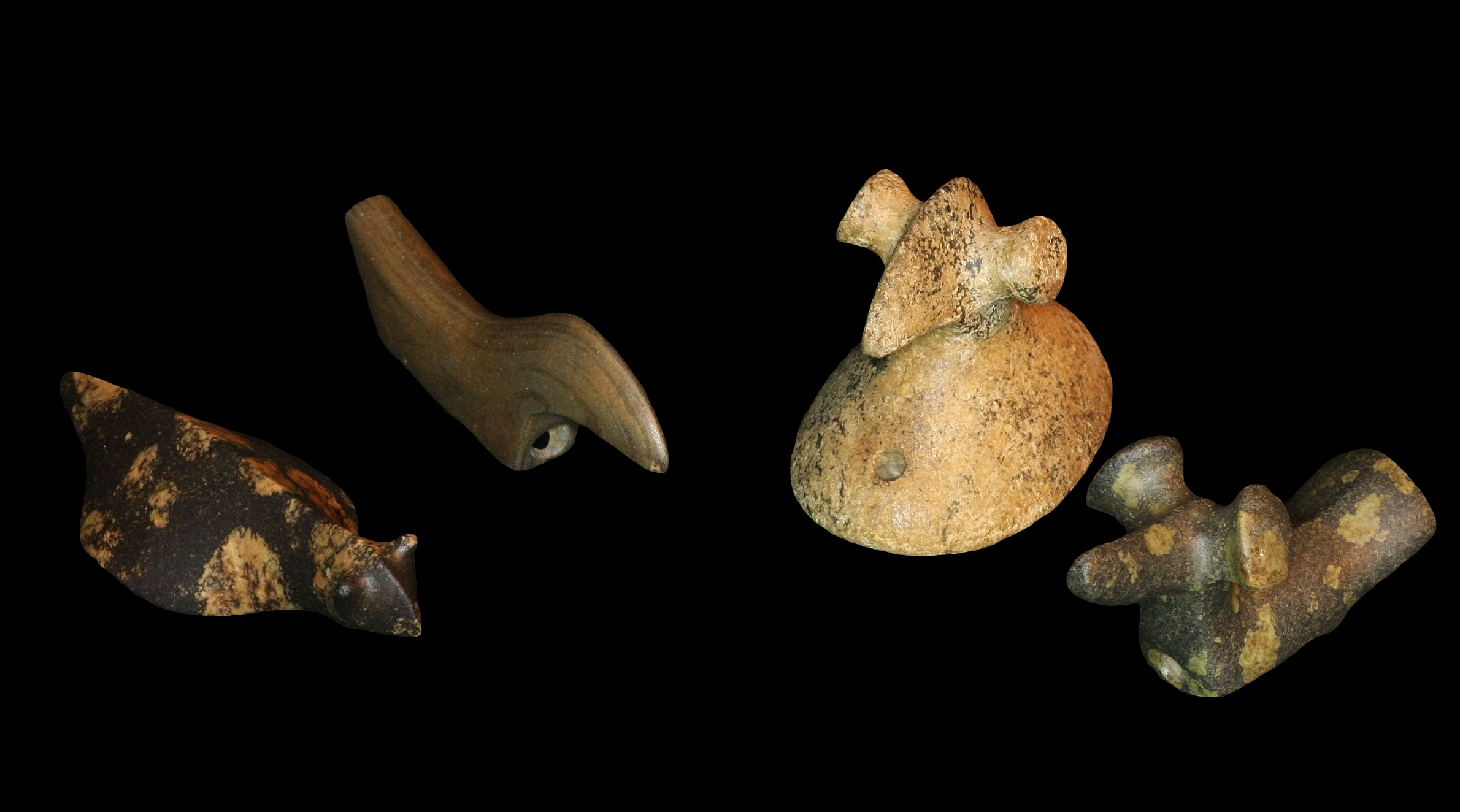 Birdstones, ca. 3000 - 200 BC, are one of the great mysteries of prehistoric Native America. Usually found in the eastern United States, each has holes on the bottom, presumably for mounting on an atlatl.
