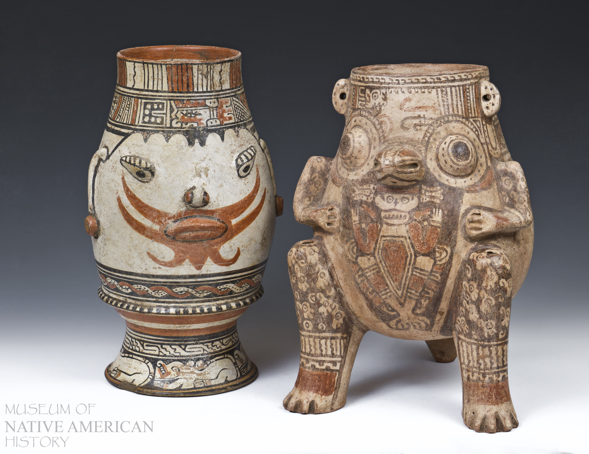 "(Left) Pataky polycrome ""footed"" urn from the Nicoya/Guanacaste area of Costa Rica. This vessel features jaguar images at base and human facial features around the body. The red around the mouth represents facial hair. Circa 1000-1500 AD  (Right) Pataky style vessel from Nicoya, Costa Rica. Tri-leg Effigy Vase (Urn Style) with extensive artwork and design. Composite effigy including human arms and an avian face. Legs are adorned with Harpy Eagle heads. The artwork on the front of this vessel depicts a human skull and bones. Circa 1000-1500 A.D."