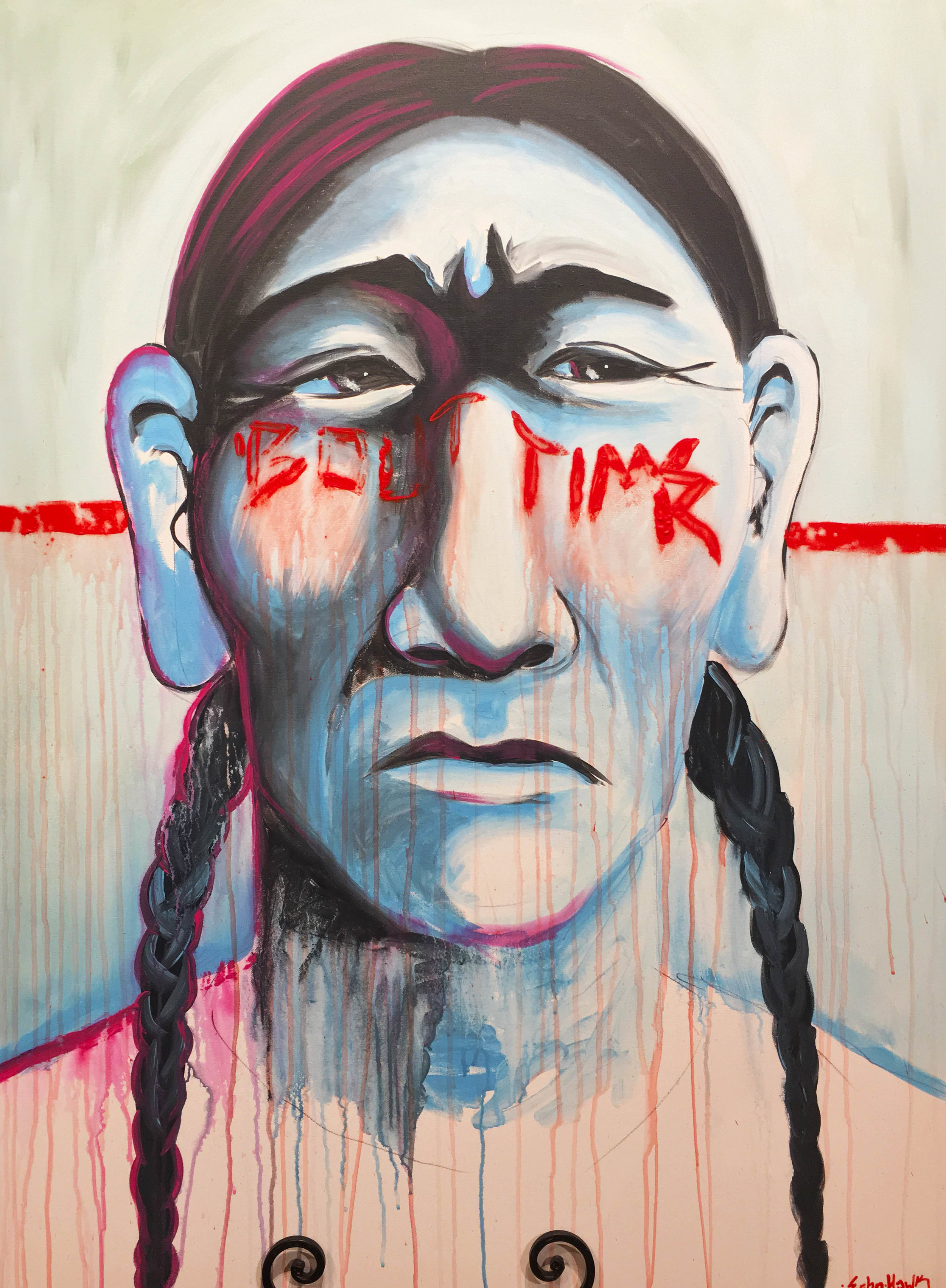'Bout Time | acrylic on canvas | Bunky Echo-Hawk |created LIVE in 2018 at the Museum of Native American History Museum Cultural Symposium