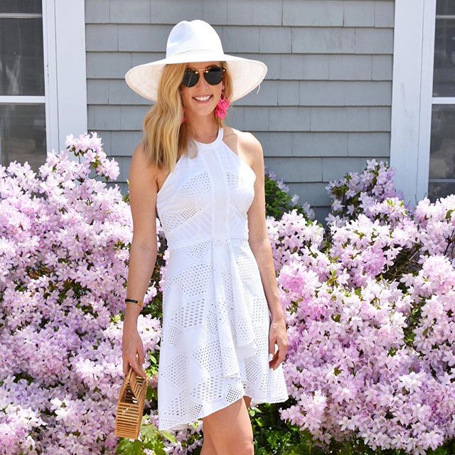 At a waterside soirée in honor of a very special graduate! 🎓 . . . This wide brim hat from @southmoonunder is only $58 and perfect for an outdoor grad ceremony and party (and virtually any other summer event)! Add bright earrings for a little pop of color (these are the tango earrings from @tuckernuck) // . . . Sunglasses: @krewe (check out the tortoise sunglasses by Izipizi @tuckernuck for a less expensive alternative) // Bag: @cultgaia (Check out Miuco @amazon for a less expensive alternative) // Dress: @amandauprichard // . . . #littlewhitedress #summerstyle #affordablefashion #highlowfashion