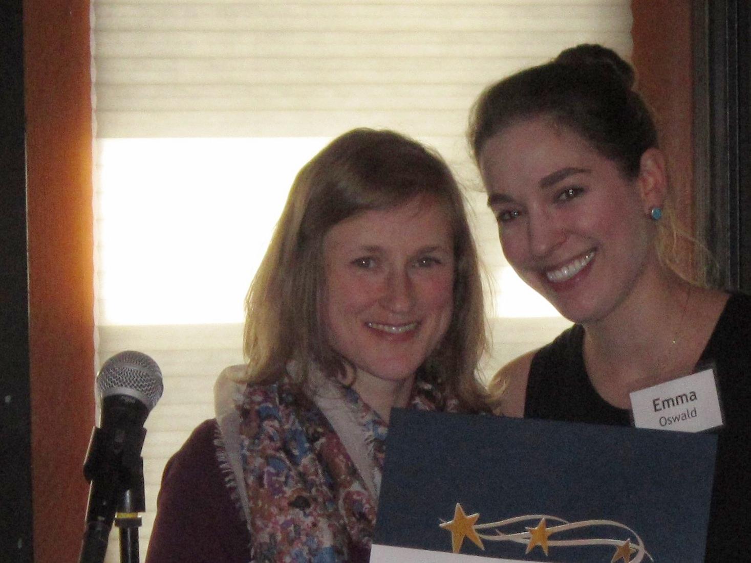Melanie Kristoferson receiving her scholarship