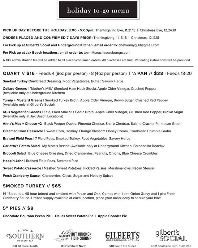 Here it is! The highly sought after holiday to go menu. Who doesn't want Chef Kenny Gilbert to cook their Thanksgiving or Holiday meal?? Let us take the worry of cooking off your plate and enjoy your time with family and friends. Limited number of turkeys available.  Order now at team@seachaserslounge.com to secure your meal! #thanksgiving2018 #atlanticbeach #neptunebeach #jaxbeach #jacksonvillebeach