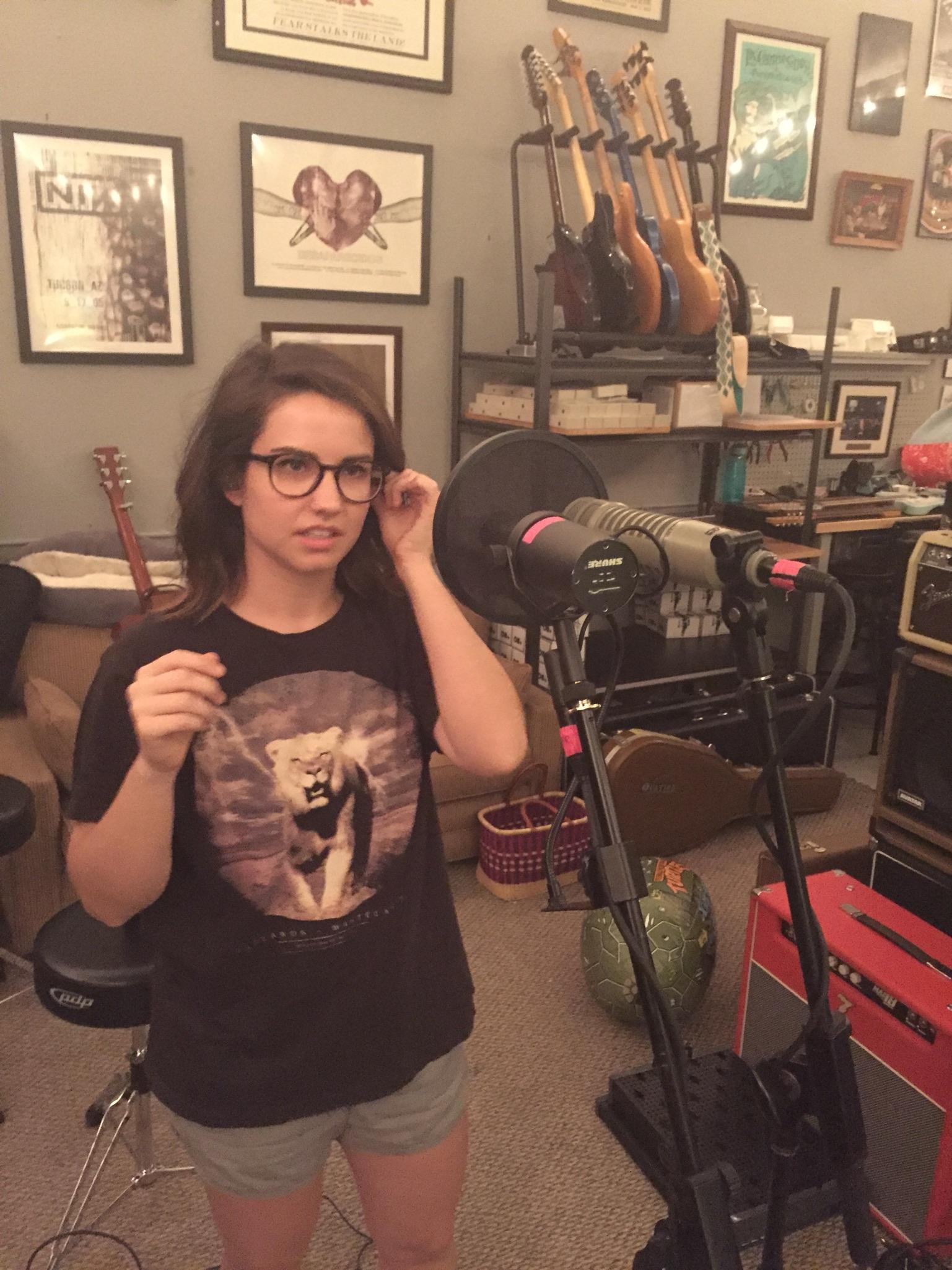 rachel recording vocals, looking kind of mad