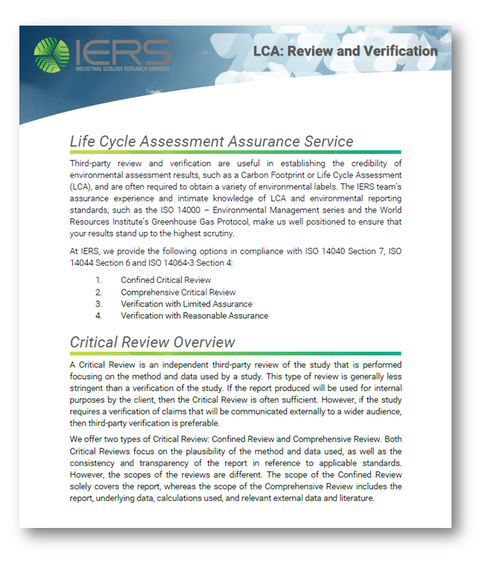 Brochure: LCA Review and Verification