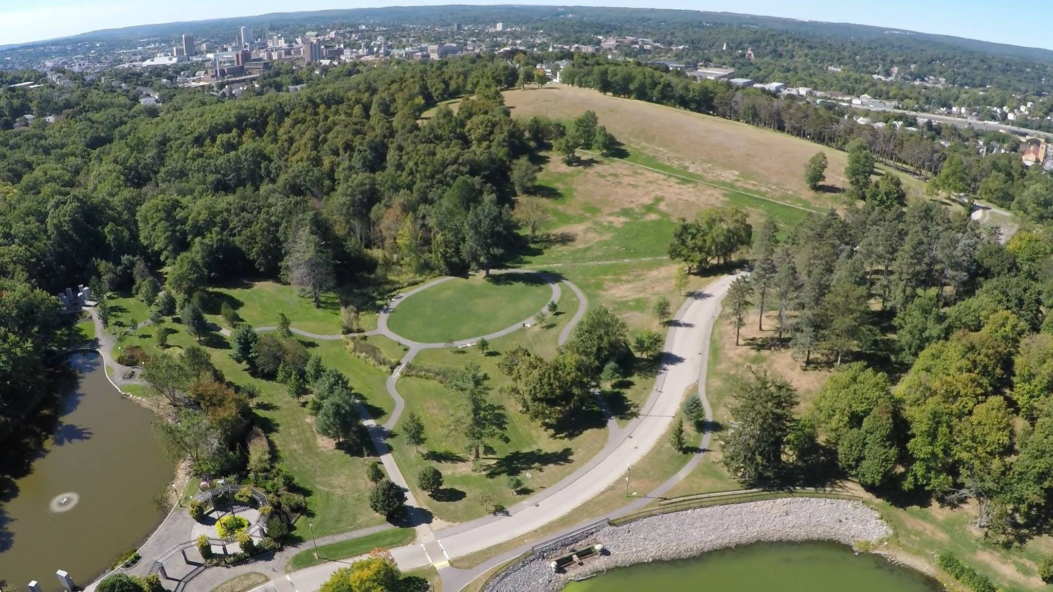 An aerial view of Green Hill Park with the Massachusetts Vietnam Veterans Memorial in the bottom left.
