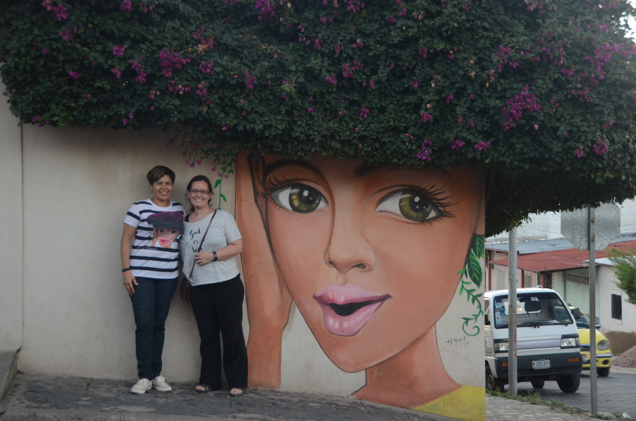 My friend Mirna's shirt matches the mural. I had to get myself in at least one photo.