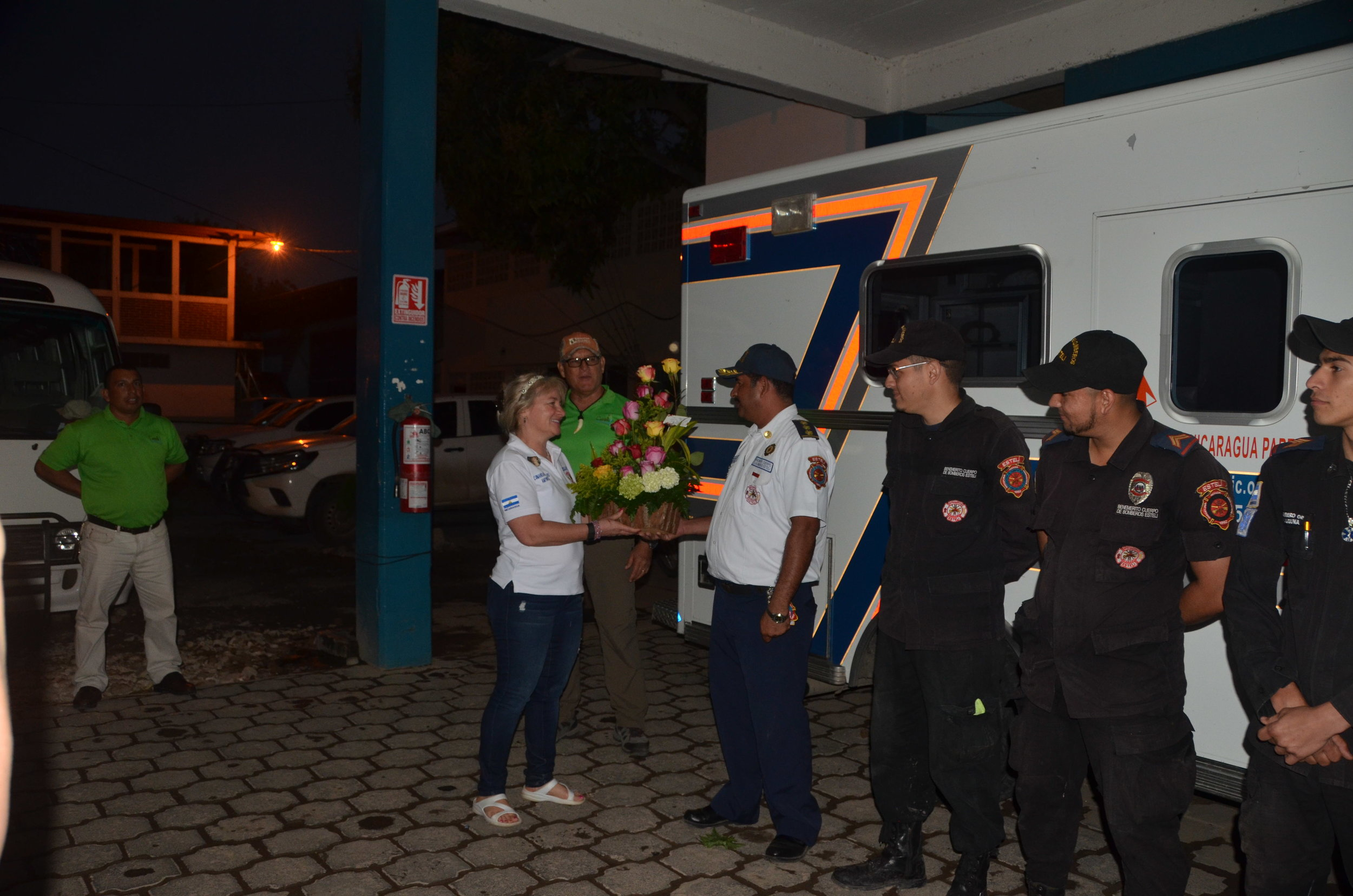 The trucks in the Esteli fire department were donated by W/NP, they are flown down here. The city is so grateful. They gave Amy flowers because a little over a week ago was her birthday. They had to honor her. She's so loved!