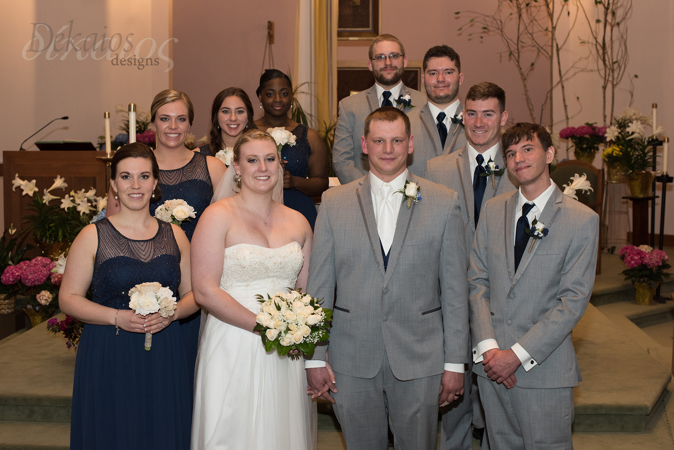 The wedding party at the Church.