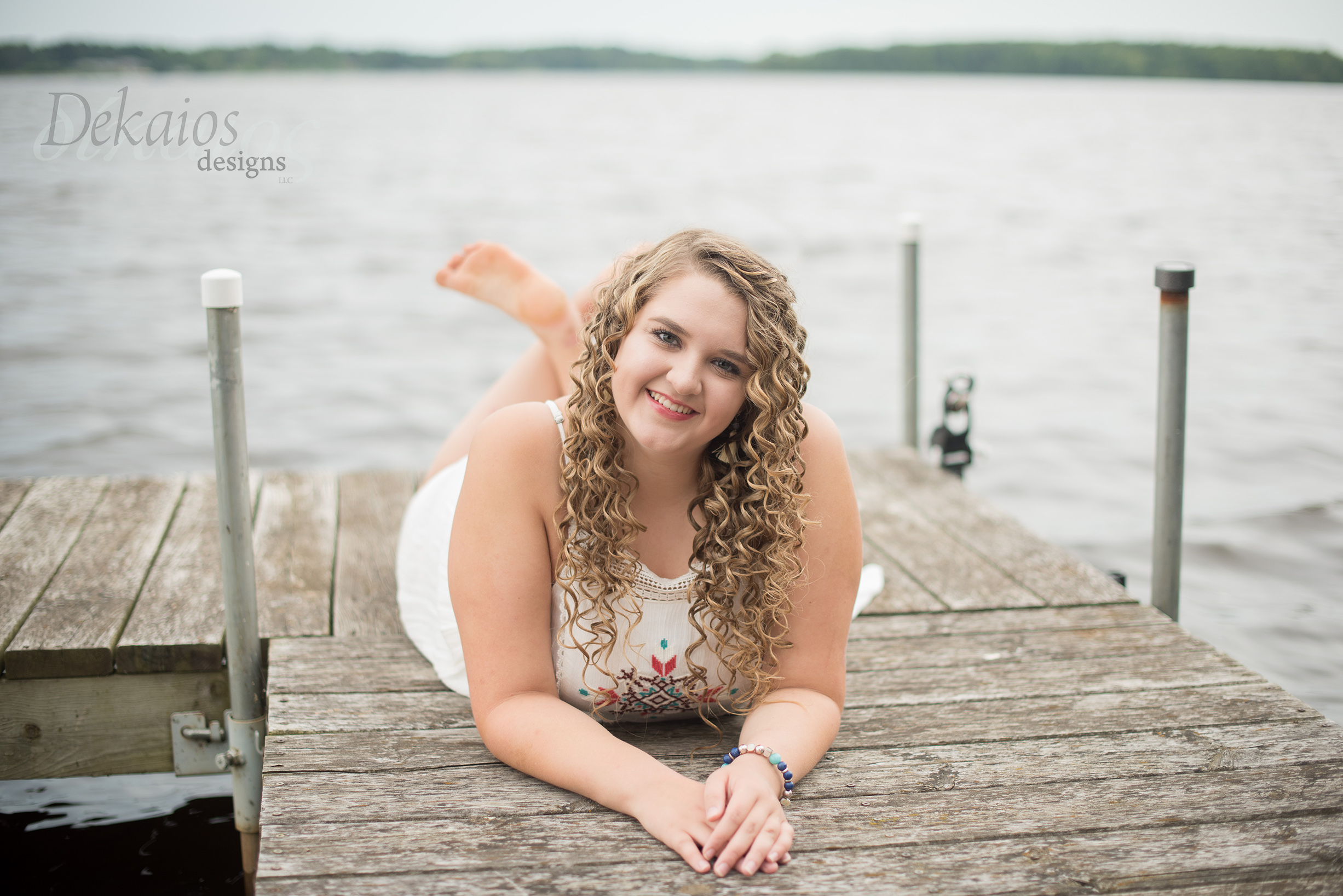 This photo was taken in her backyard on the family dock.