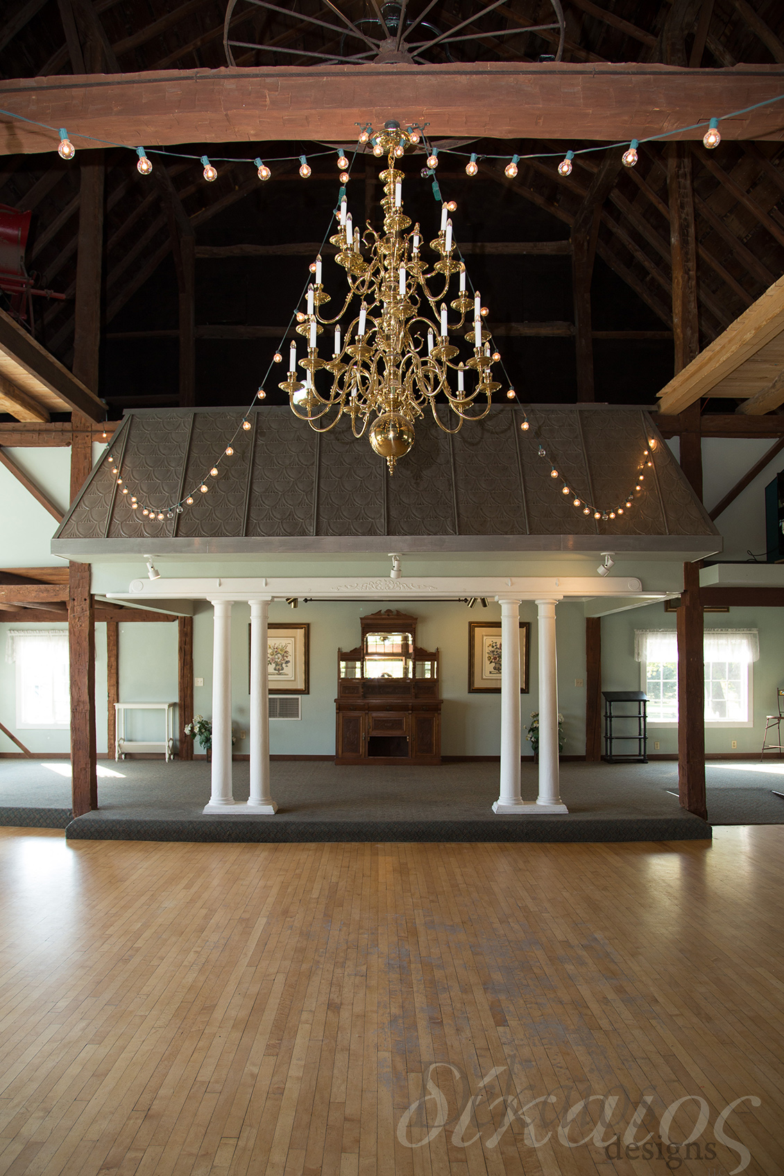 The upper level of the barn with the dance floor.