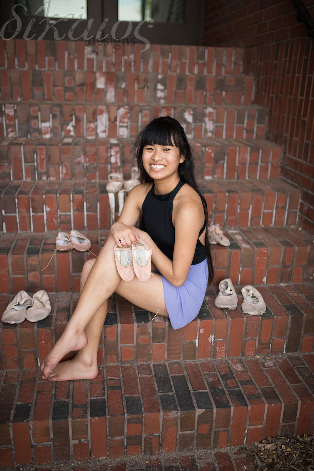 This photo includes all her dancing shoes from the time she started at age four till now as a high school senior. So special!