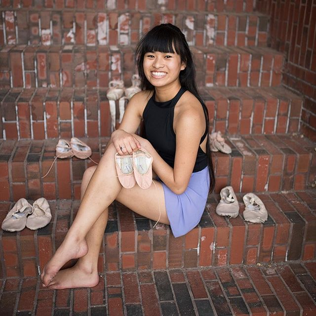 This photo includes all her ballet shoes since she started at age 5 ❤️ #Class2020