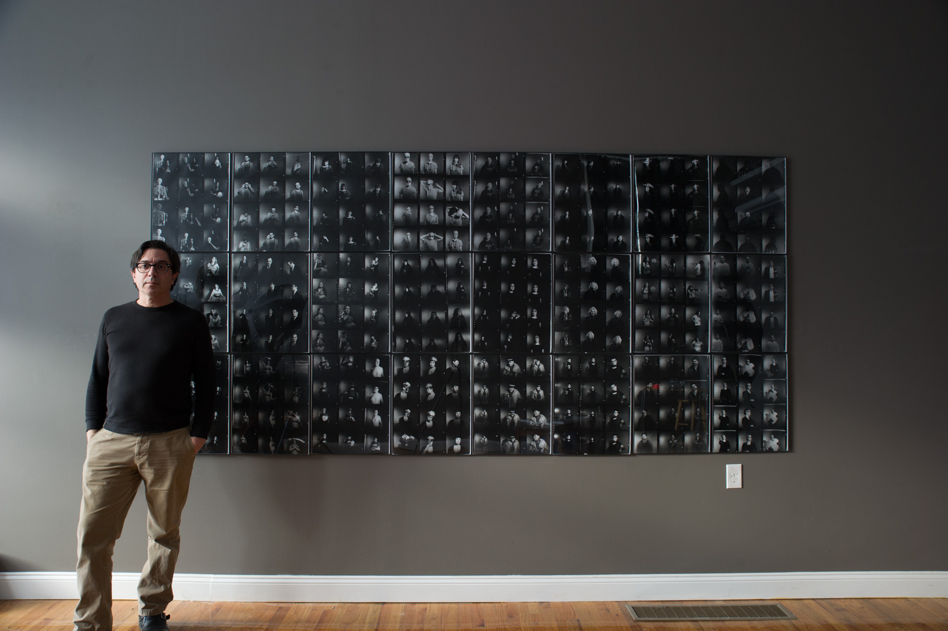 "From the installation ""12X"", featuring 12 enlarged medium format contact sheets, each sheet consisting of the entirety of one subject's session as captured on one roll of film"
