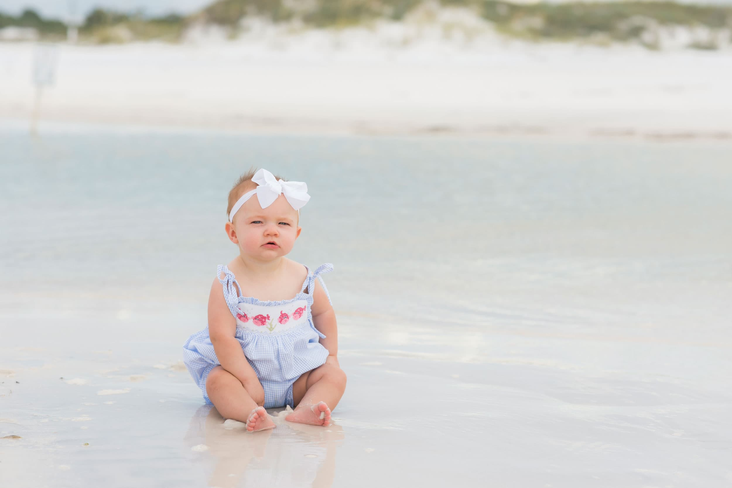 professional portrait of baby in the water in Alabama