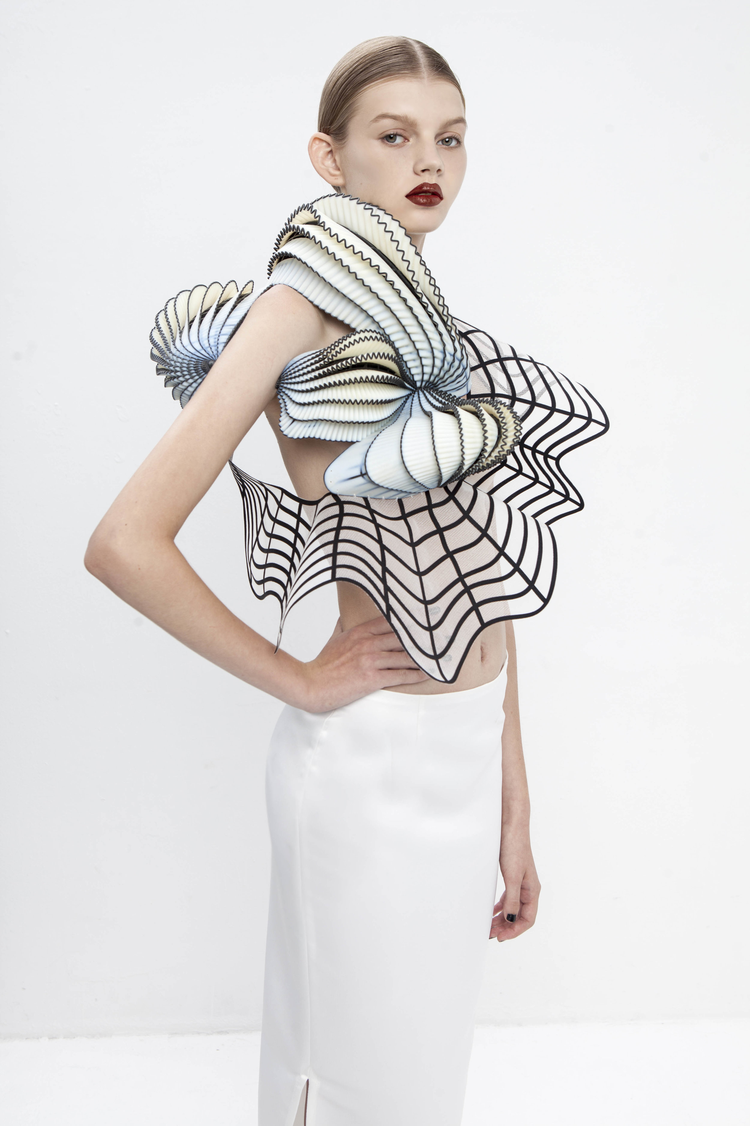 Stratasys 3D printed fashion piece, designed by Noa Raviv, produced on Stratasys' Objet500 Connex Multi-material 3D Printer. Photo credit: Ron Kedmi