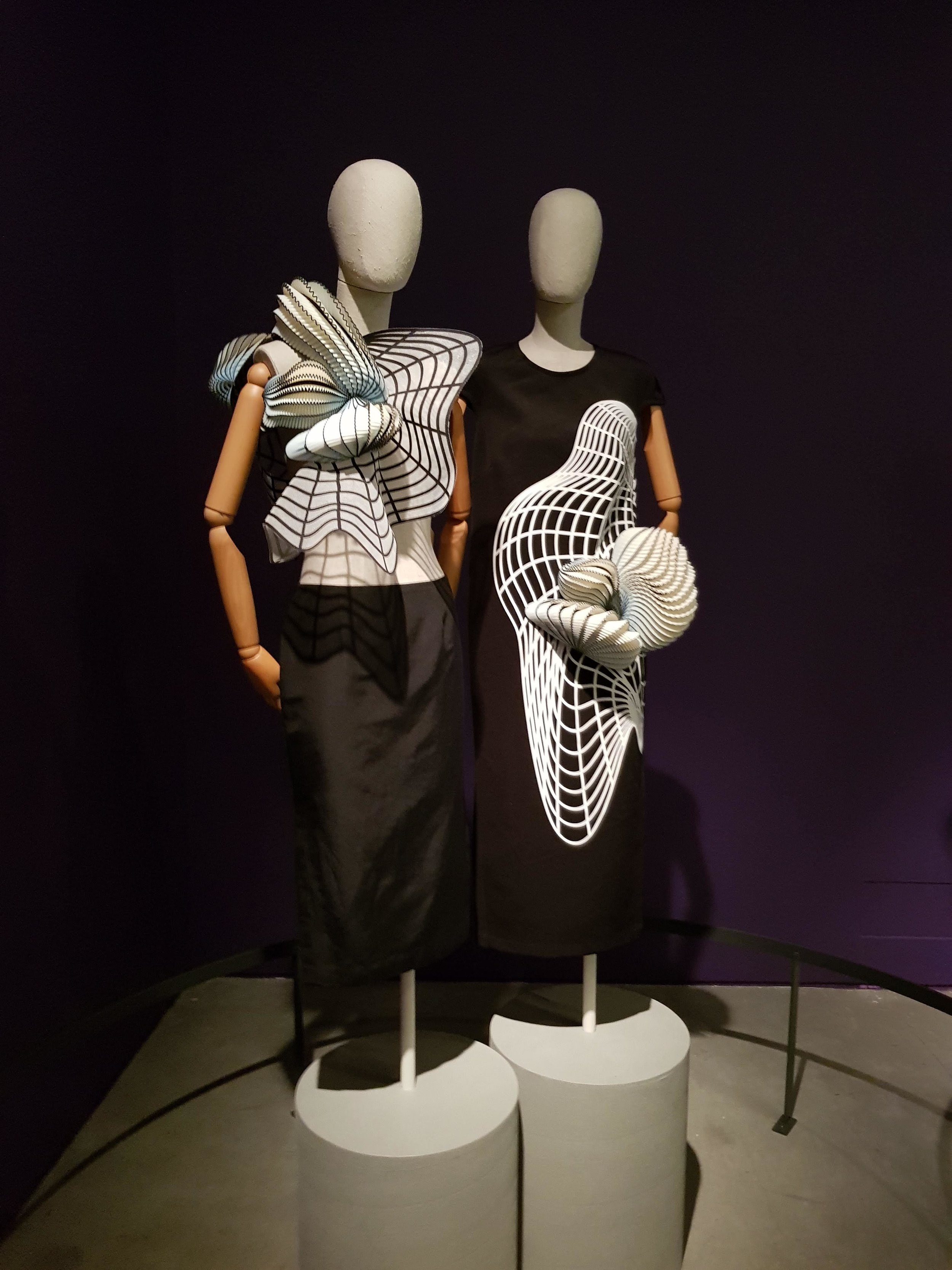 Stratasys 3D printed fashion pieces, designed by Noa Raviv, produced on Stratasys' Objet500 Connex Multi-material 3D Printer, on display at the Fashion Statements exhibition, Israel Museum.
