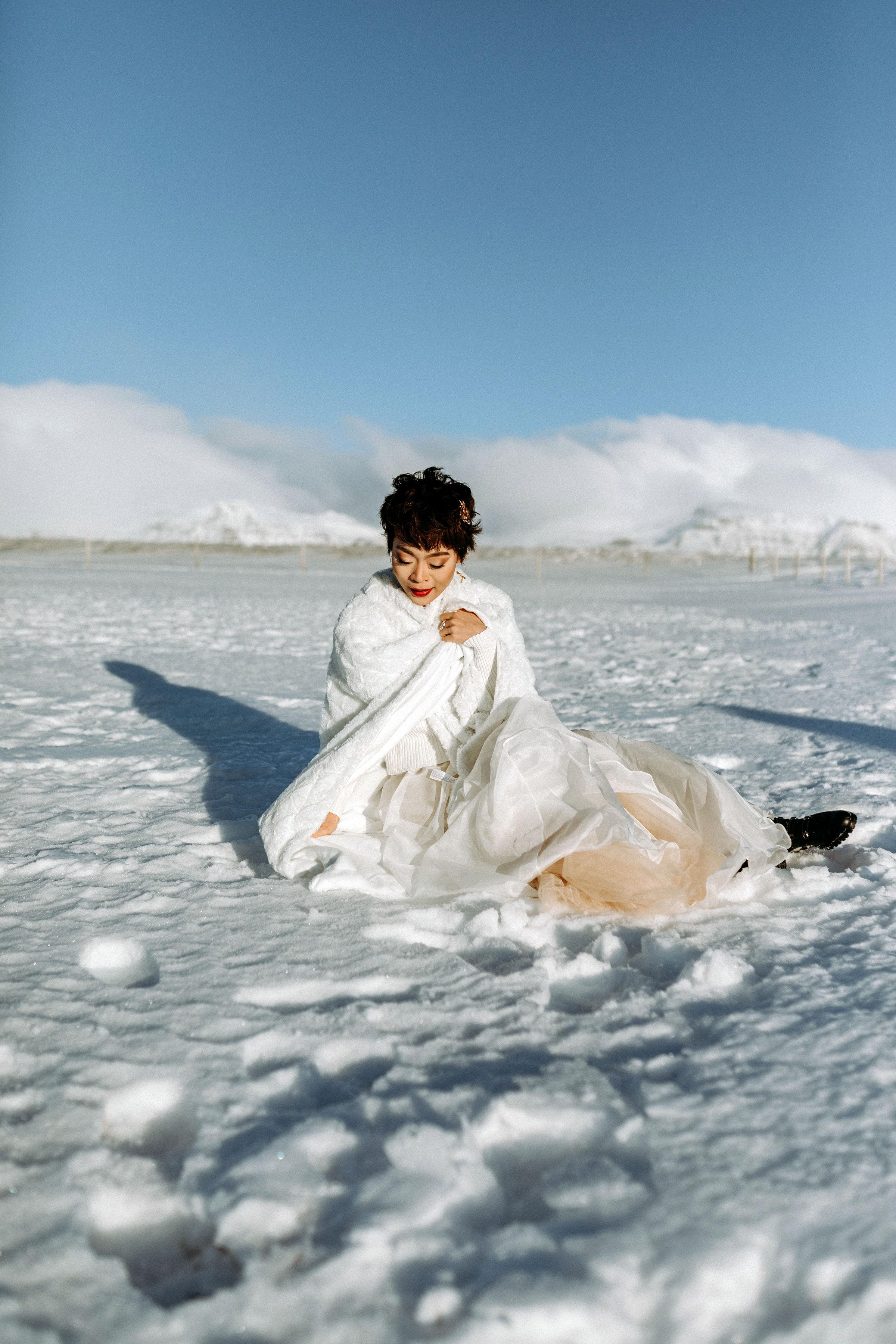 Iceland Elopement Photographer Búðir Black Church Snaefellsnes Peninsula bridal portrait