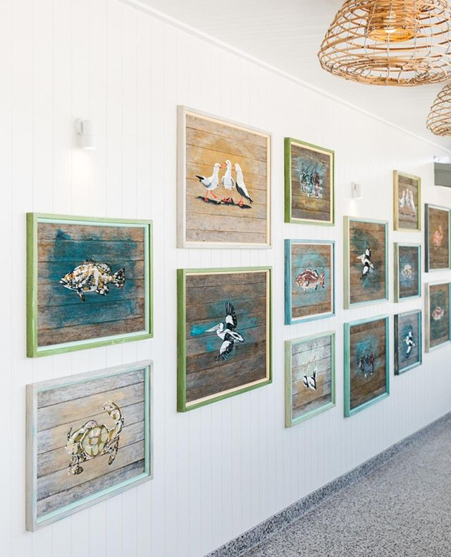 Seaside paintings on the wall ⁠ #theboathousegroup #theboathousehotelpatonga #watersidevenue #artworks #centralcoastnsw