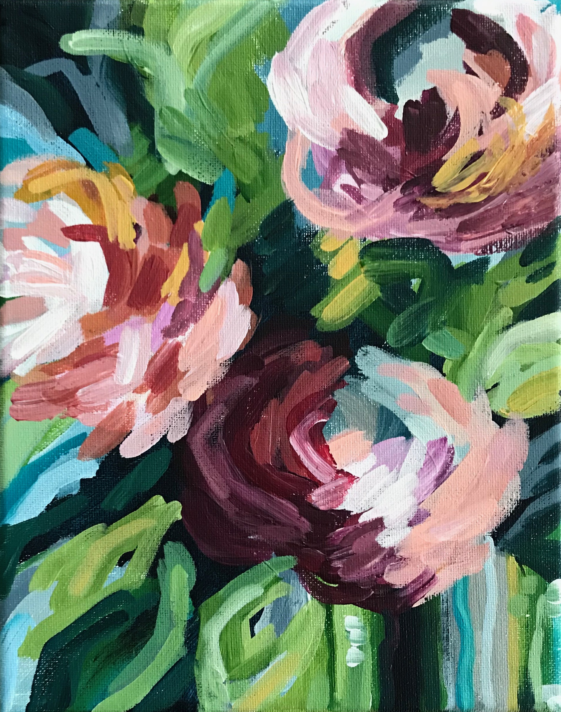 How To Paint Modern Abstract Flowers Acrylic Painting For Beginners Elle Byers Art