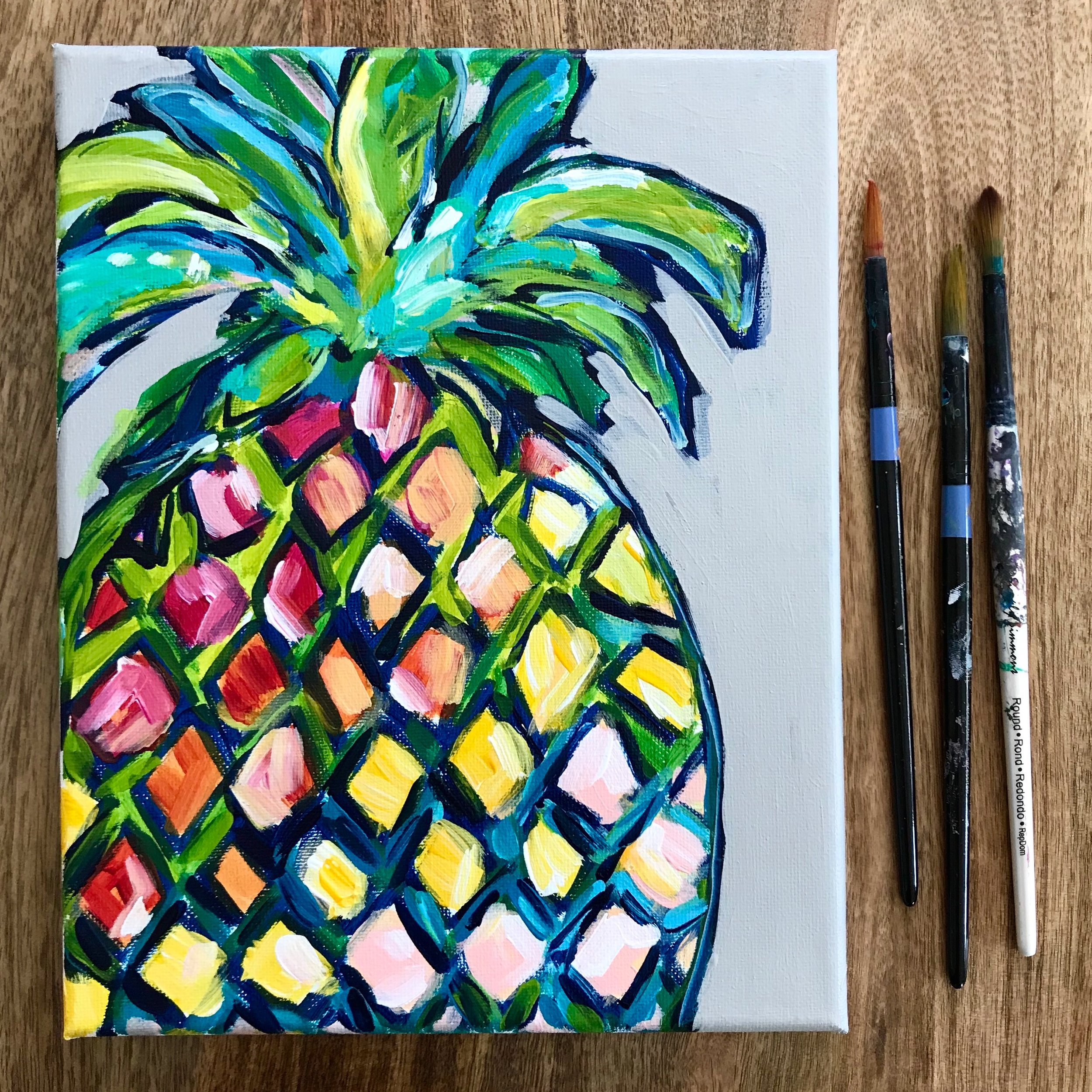 Learn How to Paint a Colorful Pineapple with Acrylic Paint:  Acrylic Painting for Beginners!
