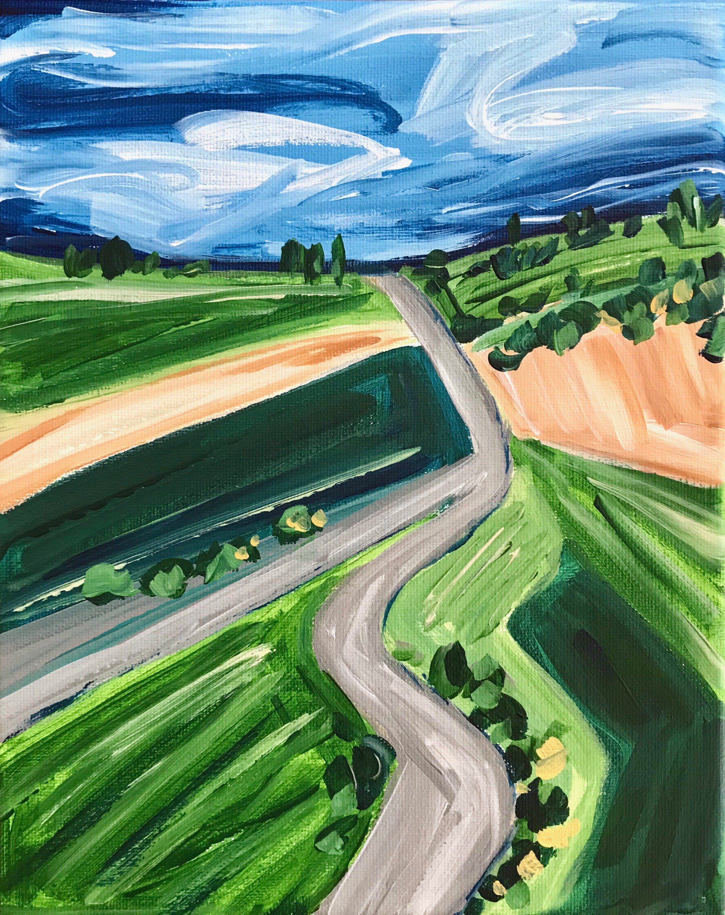 New art class:  How to Paint an Abstract Landscape with Acrylic Paint for Beginners!