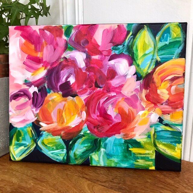 How to Paint Loose Abstract Flowers with Acrylic Paint on Canvas: