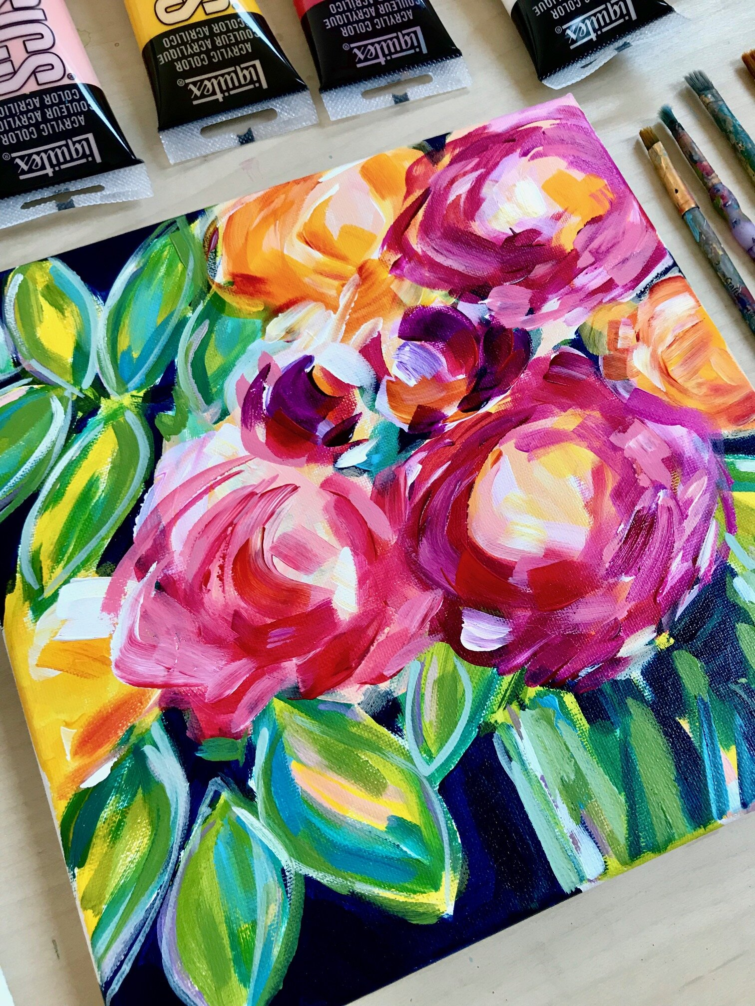 Abstract Flowers Video Painting