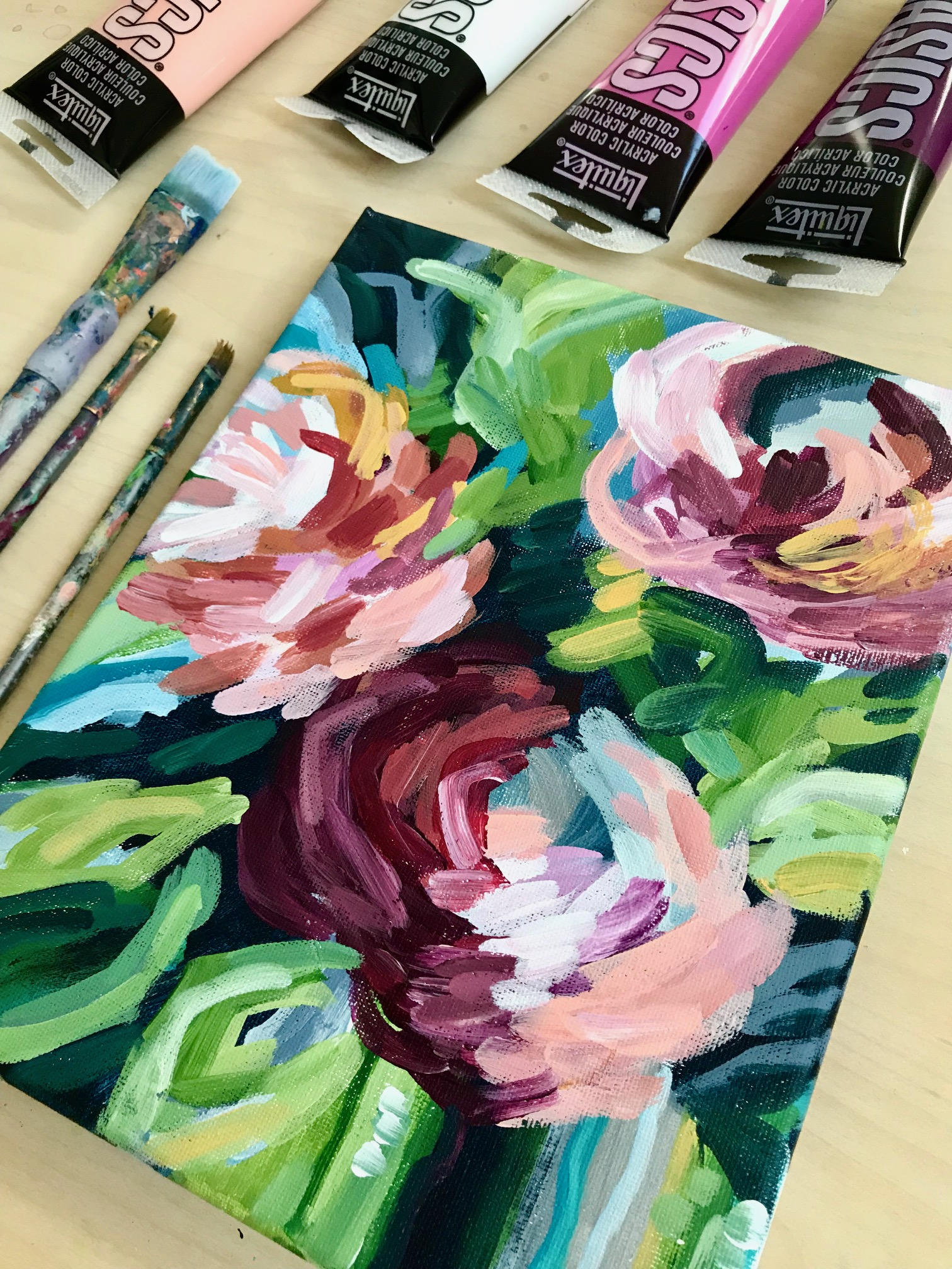 Easy Abstract Flower Painting for Beginners!