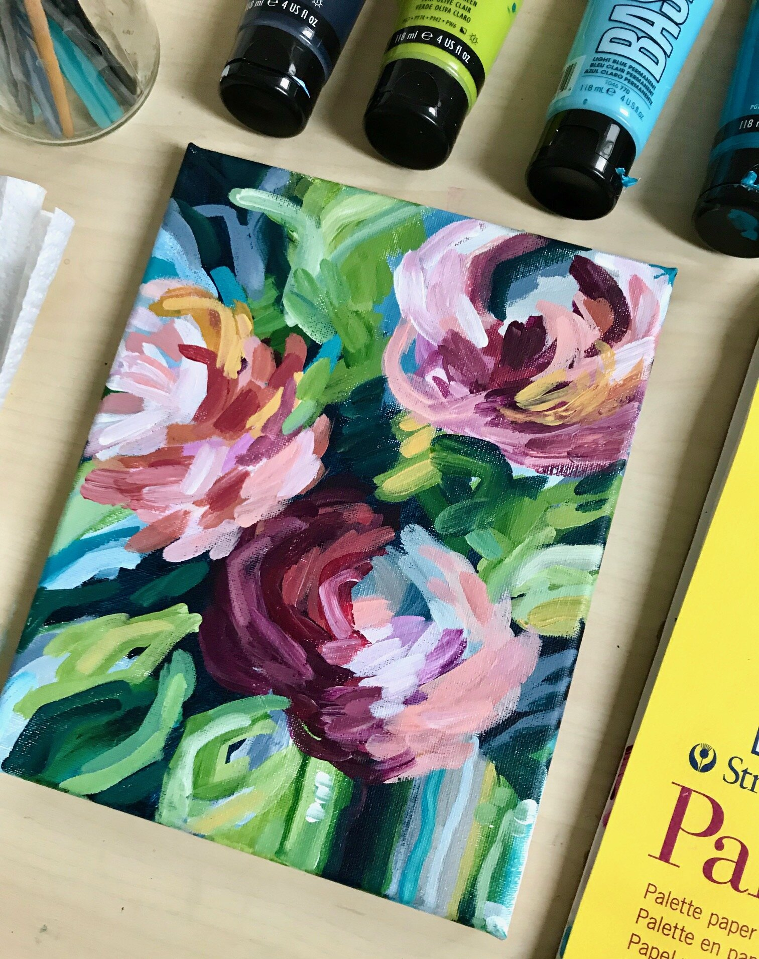 Easy Flower Painting Ideas For Beginners Step By Step Acrylic Painting Tutorials Elle Byers Art