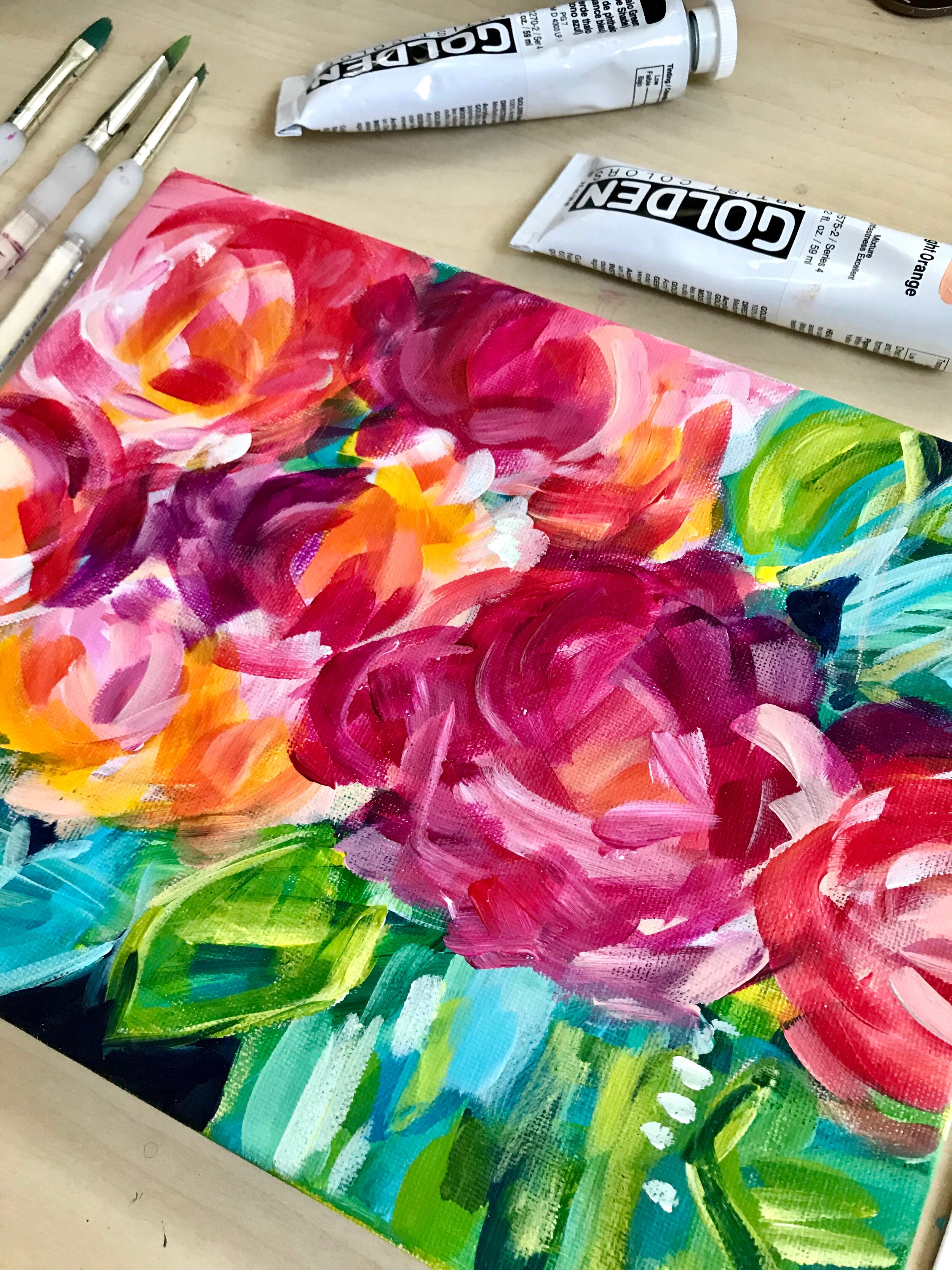 Easy Abstract Flowers on Canvas with Acrylics!