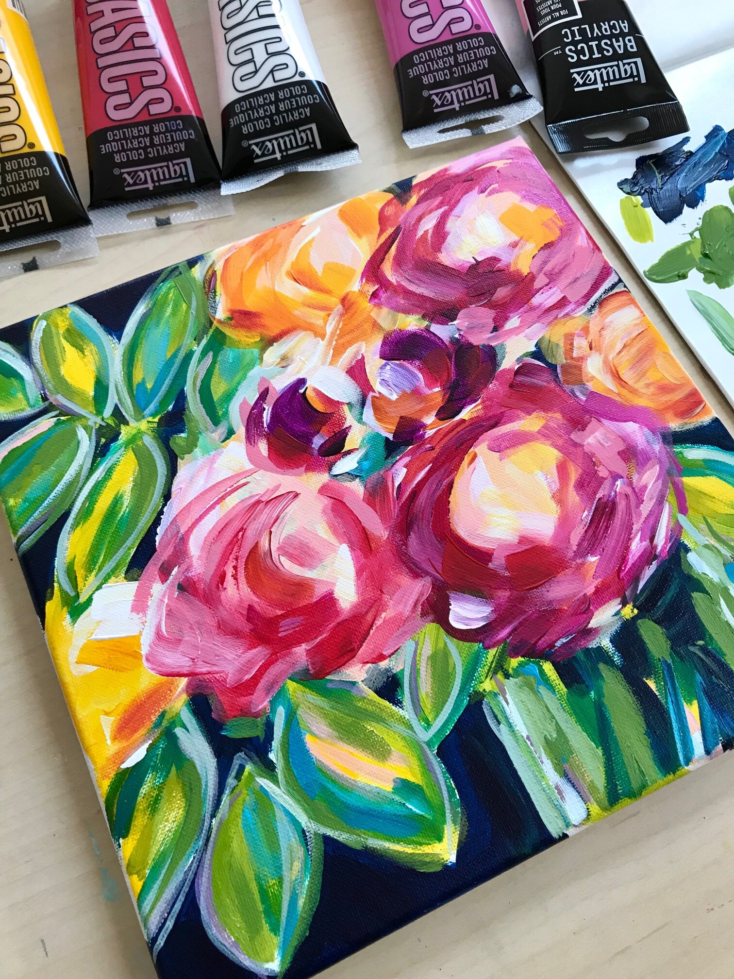 Abstract Flowers on Canvas with Acrylic Paint!