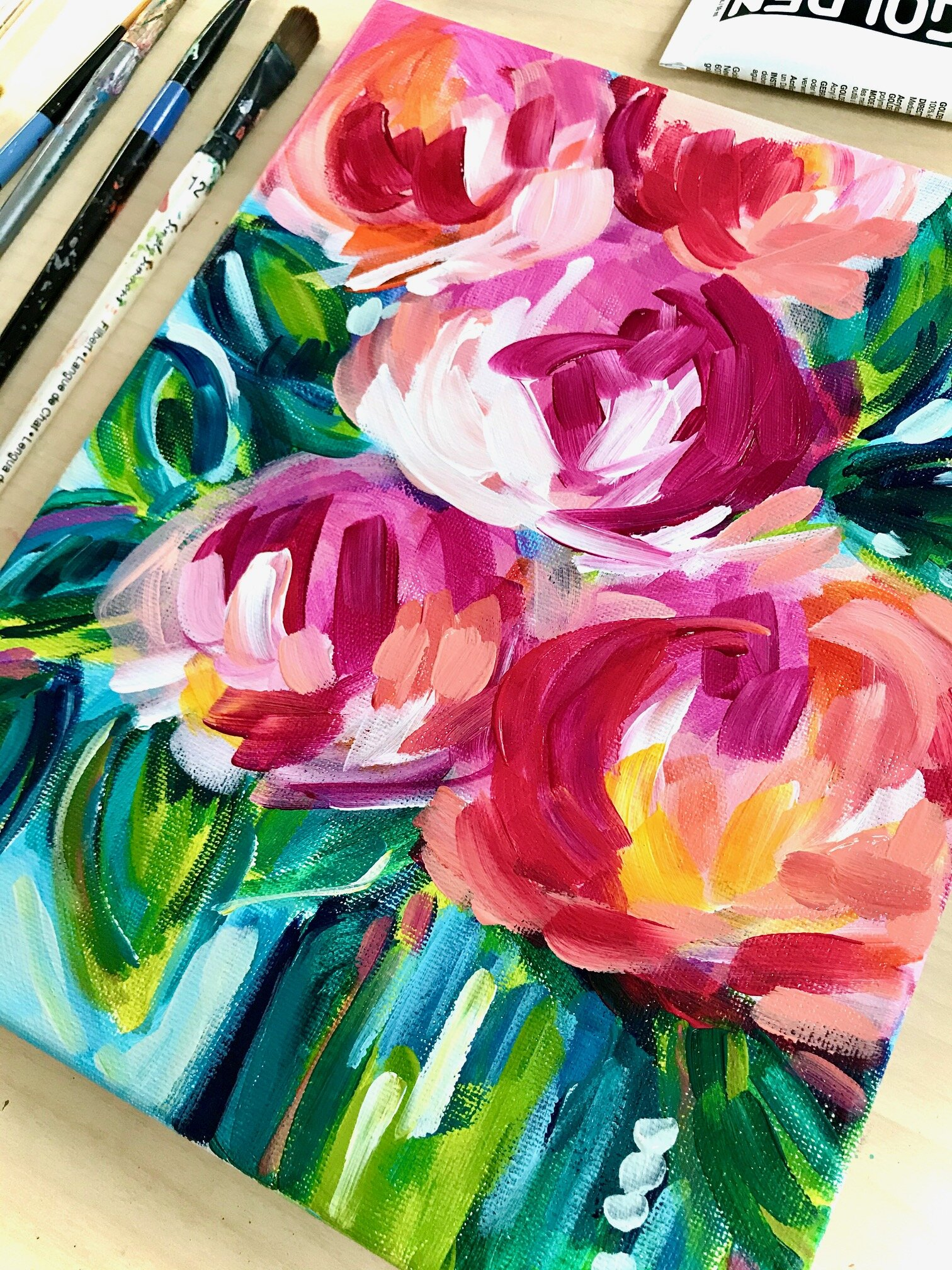 Ideas For Painting Easy Abstract Flowers On Canvas With