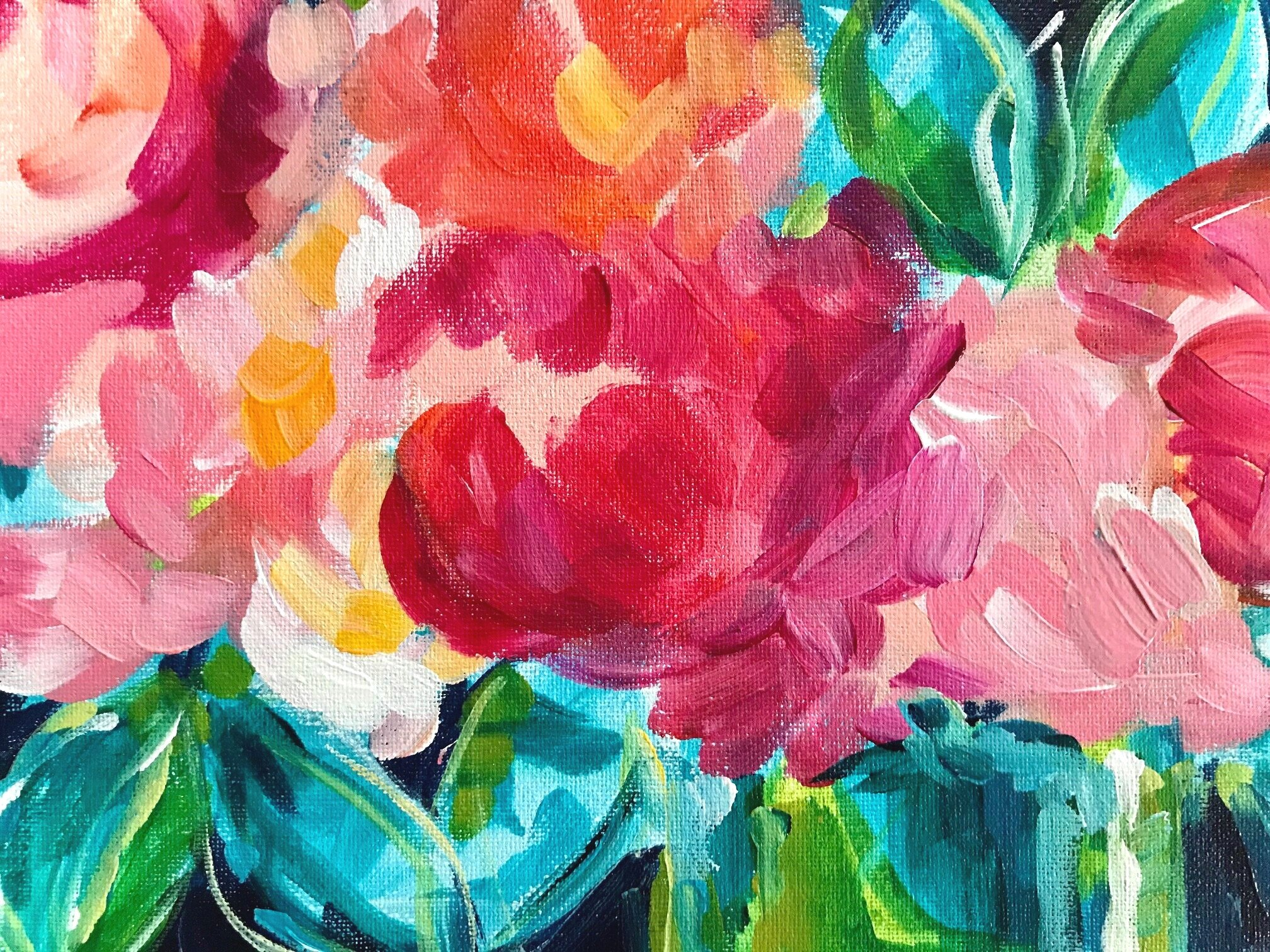 How To Paint Abstract Flowers In Acrylic On Canvas Flower Painting Tutorials On Youtube Elle Byers Art
