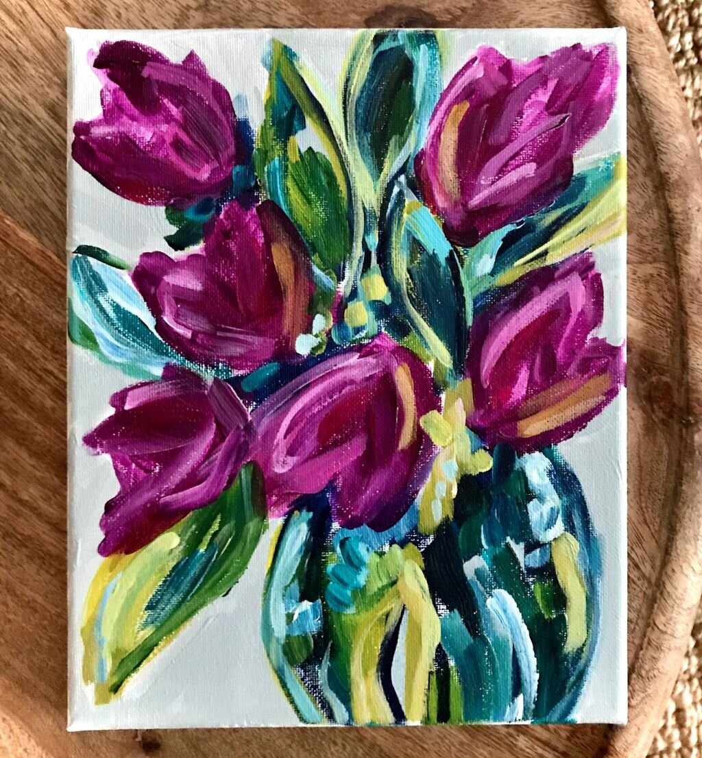 How To Paint Tulips Easy Flower Painting Ideas For Beginner Artists Elle Byers Art