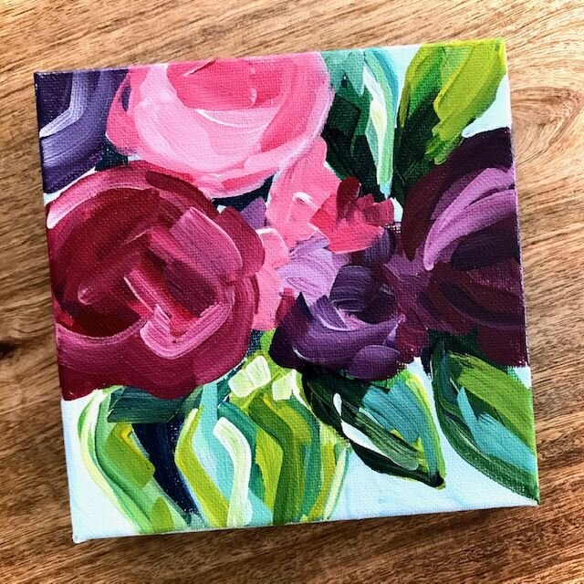 30 Days Of Flower Painting Videos On Youtube Day 3 How To Paint Simple Flowers On Canvas With Acrylics Elle Byers Art