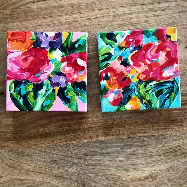 Ideas For Painting Abstract Flowers On Canvas With Acrylic Paint Beginners Elle Byers Art