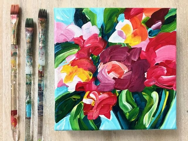 Ideas for painting easy abstract flowers on canvas with acrylic ...